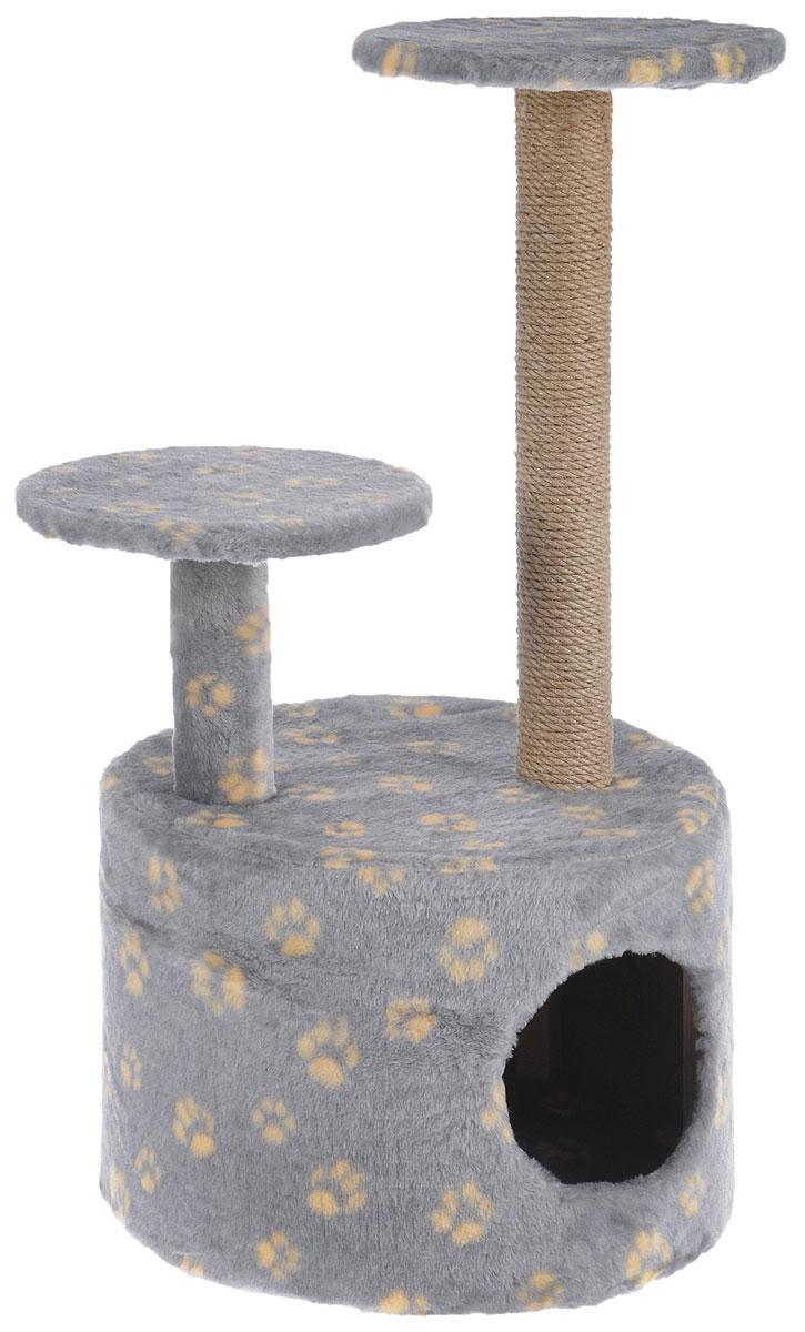 Игровой комплекс для кошек Меридиан, с когтеточкой и двумя полками, цвет: серый, желтый, бежевый, 40 х 40 х 81 см0120710Игровой комплекс для кошек Меридиан выполнен из высококачественного ДВП и ДСП и обтянут искусственным мехом. Изделие предназначено для кошек. Ваш домашний питомец будет с удовольствием точить когти о специальный столбик, изготовленный из джута. А отдохнуть он сможет либо на полках разной высоты, либо в расположенном внизу домике.Общий размер: 40 х 40 х 81 см.Размер домика: 40 х 40 х 28 см.Высота полок: 51 см, 24 см.Диаметр полок: 27 см.