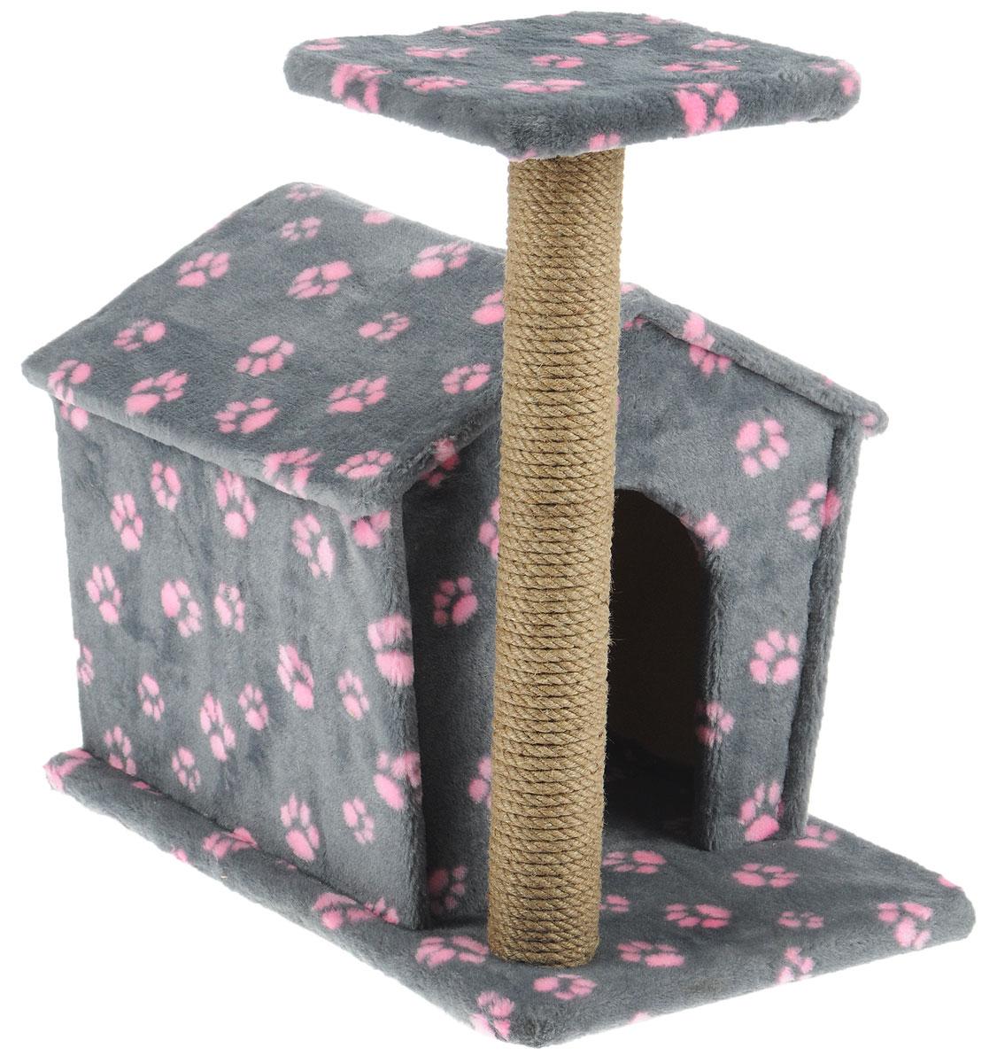 Игровой комплекс для кошек Меридиан Изба, с когтеточкой и домиком, цвет: серый, розовый, бежевый, 50 х 35 х 54 смWD2003Игровой комплекс Меридиан Изба выполнен из высококачественного ДВП и ДСП и обтянут искусственным мехом. Изделие предназначено для кошек. Ваш домашний питомец будет с удовольствием точить когти о специальный столбик, изготовленный из джута. А отдохнуть она сможет либо на площадке, находящейся наверху столбика, либо в расположенном внизу домике.Общий размер: 50 х 35 х 54 см.Размер домика: 40 х 36 х 36 см.Размер площадки: 24 х 24 см.