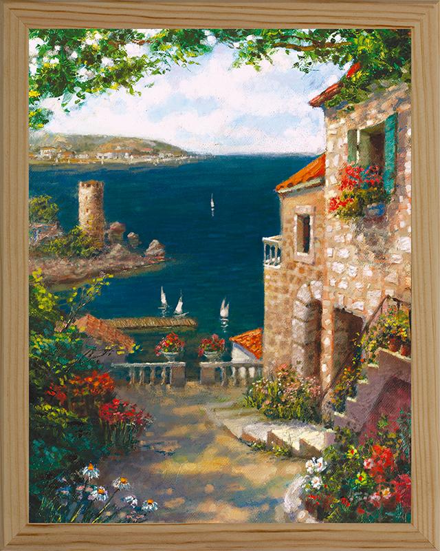 Картина Postermarket Средиземноморский пейзаж, 20 х 25 смMC-25Картина Postermarket Средиземноморский пейзаж прекрасно подойдет для декора интерьера различных помещений. Постер, выполненный в технике фотопечать, оформлен багетом бежевого цвета. Картина для интерьера (постер) - это современное и актуальное направление в дизайне помещений. Ее можно использовать для оформления любых помещений (дом, квартира, офис, бар, кафе, ресторан или гостиница). работоспособность. Правильное оформление интерьера создает благоприятный психологический климат, улучшает настроение и мотивирует.Размер картины: 200 x 250 мм.