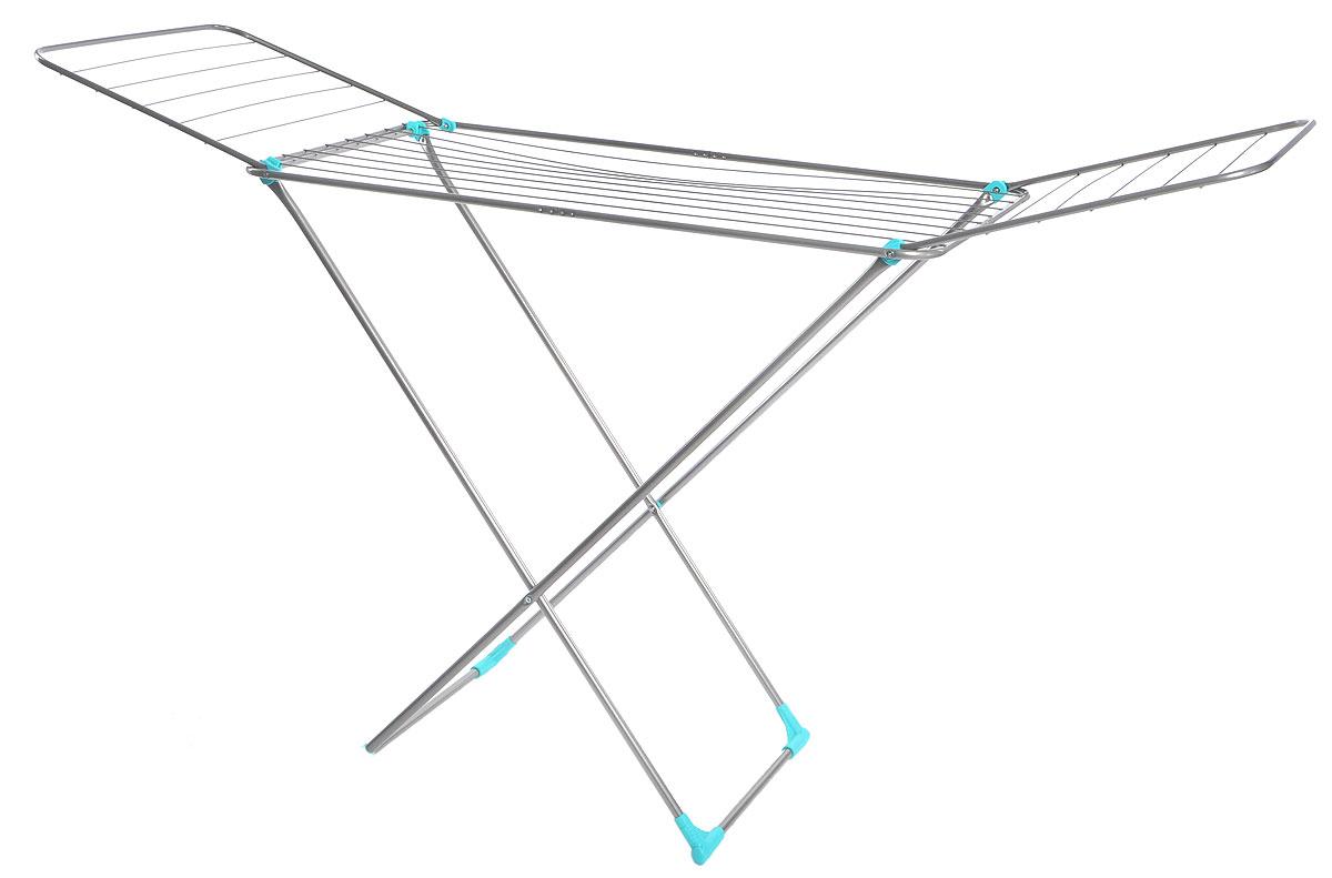 Сушилка для белья Nika, напольная, цвет: серый, бирюзовый, 180 х 108 х 54 смGC204/30Напольная сушилка для белья Nika проста и удобна в использовании, компактно складывается, экономя место в вашей квартире. Сушилку можно использовать на балконе или дома. Сушилка оснащена складными створками для сушки одежды во всю длину, а также имеет специальные пластиковые крепления в основе стоек, которые не царапают пол. Размер сушилки в разложенном виде: 180 х 108 х 54 см.Размер сушилки в сложенном виде: 130 х 54 х 2,5 см.Длина сушильного полотна: 18 м.