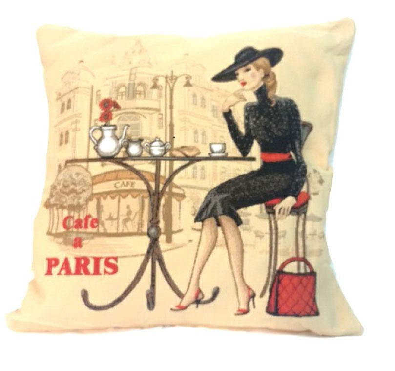 Подушка декоративная Рапира Кафе Париж. Блондинка, 45 х 45 смSVC-300Декоративная подушка с наполнителем холлофайбер со съёмным чехлом на молнии, выполненным из жаккарда, - это яркий штрих в интерьере комнаты. Лицевая сторона - гобелен (жаккардовое ткачество), оборотная сторона -однотонная ткань типа плюш.