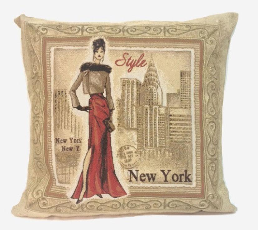 Подушка декоративная Рапира Багет. Нью-Йорк, 45 х 45 см16051Декоративная подушка с наполнителем холлофайбер со съёмным чехлом на молнии, выполненным из жаккарда, - это яркий штрих в интерьере комнаты. Лицевая сторона - гобелен (жаккардовое ткачество), оборотная сторона -однотонная ткань типа плюш.