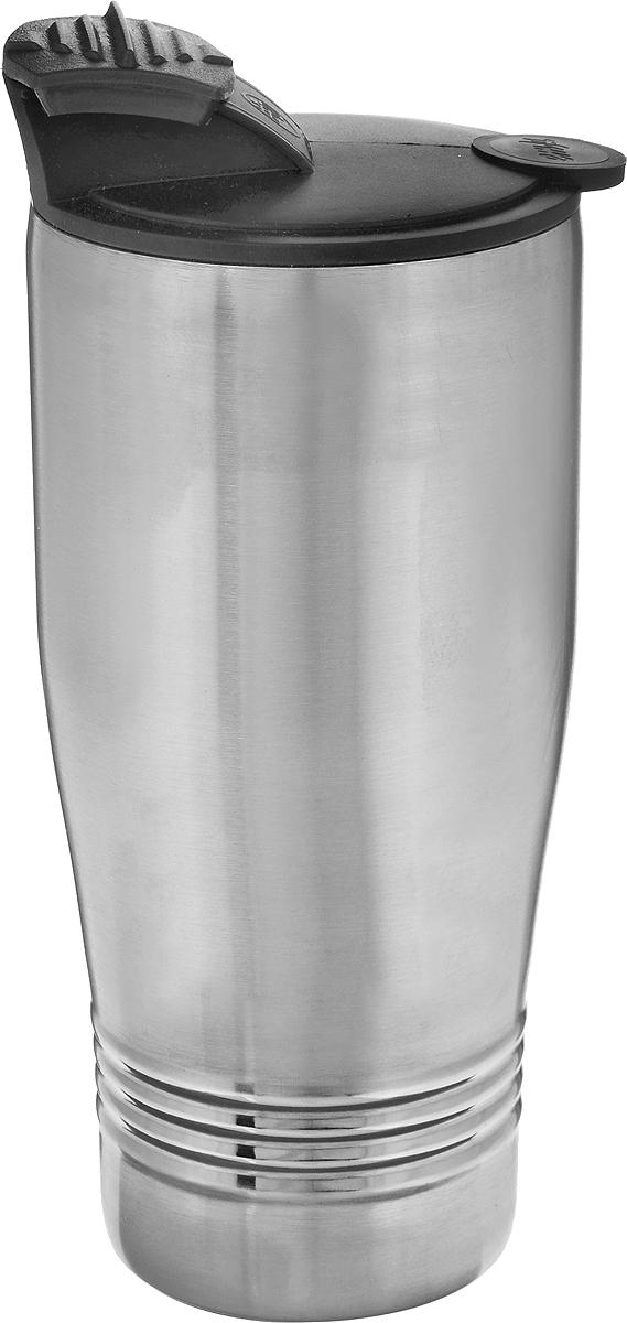 Термокружка Emsa Senator Travel Cup, цвет: серый, черный, 400 млVT-1520(SR)Термокружка Emsa Senator Travel Cup - это идеальный попутчик в дороге - не важно, по пути ли на работу, в школу или во время похода по магазинам. Вакуумная кружка на 100% герметична. Кружка имеет двустенную вакуумную колбу из нержавеющей стали, благодаря чему температура жидкости сохраняется долгое время. Изделие открывается нажатием кнопки. Дно кружки выполнено из пластика, что препятствует скольжению.Диаметр кружки по верхнему краю: 7,8 см.Диаметр дна кружки: 6 см.Высота кружки: 15,5 см.Сохранение холодной температуры: 8 ч.Сохранение горячей температуры: 4 ч.