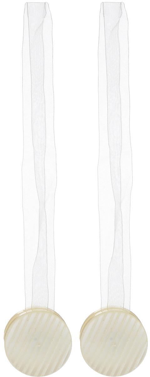 Подхват для штор TexRepublic Ajur. Lenta, на магнитах, цвет: слоновая кость, диаметр 4 см, 2 шт. 790062615S540JAИзящный подхват для штор TexRepublic Ajur. Lenta, выполненный из пластика и текстиля, можно использовать как держатель для штор или для формирования декоративных складок на ткани. С его помощью можно зафиксировать шторы или скрепить их, придать им требуемое положение, сделать симметричные складки. Благодаря магнитам подхват легко надевается и снимается.Подхват для штор является универсальным изделием, которое превосходно подойдет для любых видов штор. Подхваты придадут шторам восхитительный, стильный внешний вид и добавят уют в интерьер помещения.Длина подхвата: 36 см.Диаметр: 4 см.Количество: 2 шт.