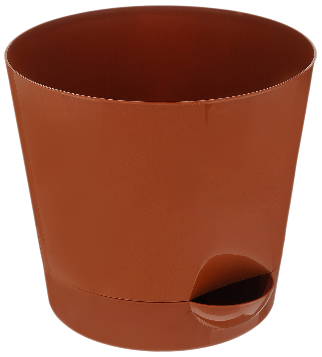 Кашпо Idea Ника, с прикорневым поливом, с поддоном, цвет: коричневый, 2,7 л531-401Кашпо Idea Ника изготовлено из высококачественного полипропилена (пластика). В комплект входит поддон со специальной выемкой, благодаря которому имеется возможность прикорневого полива. Изделие подходит для выращивания растений и цветов в домашних условиях. Стильная яркая картинка сделает такое кашпо прекрасным дополнением интерьера. Объем горшка: 2,7 л. Диаметр горшка (по верхнему краю): 18 см. Высота горшка: 16,5 см. Диаметр подставки: 15 см.