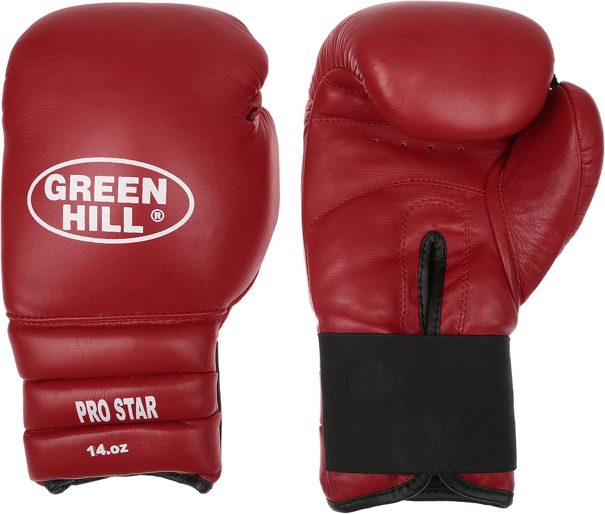 Перчатки боксерские Green Hill Pro Star, цвет: красный, белый. Вес 14 унций. BGPS-2012BGG-2018Тренировочные боксерские перчатки Green Hill Pro Star отлично подойдут для спаррингов. Верх выполнен из натуральной кожи, наполнитель - из вспененного полимера. Отверстие в области ладони позволяет создать максимально комфортный терморежим во время занятий. Удлиненный сегментированный манжет способствует быстрому и удобному надеванию перчаток, плотно фиксирует их на руке.