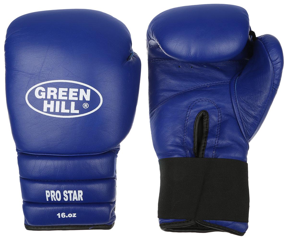 Перчатки боксерские Green Hill Pro Star, цвет: синий. Вес 16 унций. BGPS-2012 перчатки боксерские green hill pro star цвет красный белый вес 16 унций bgps 2012