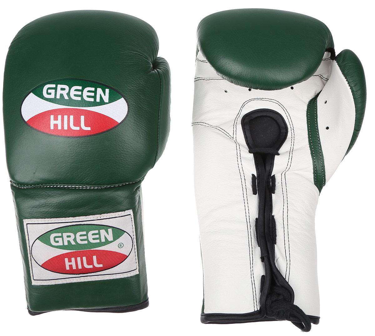 Перчатки боксерские Green Hill Proffi, цвет: зеленый, белый. Вес 14 унций. BGP-2014PG-2047Боксерские перчатки Green Hill Proffi предназначены для использования профессионалами. Верх выполнен из натуральной кожи, наполнитель - из вспененного полимера. Отверстие в области ладони позволяет создать максимально комфортный терморежим во время занятий. Манжет на шнуровке способствует быстрому и удобному надеванию перчаток, плотно фиксирует перчатки на руке.