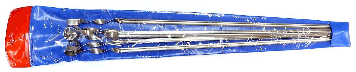 Набор шампуров Image, угловые, в чехле, длина 56 см, 6 шт251Набор угловых шампуров изготовленных из высококачественной нержавеющей стали. В комплект входит 6 шампуров 560 х 11 х 1 мм.+ виниловый чехол. для хранения.