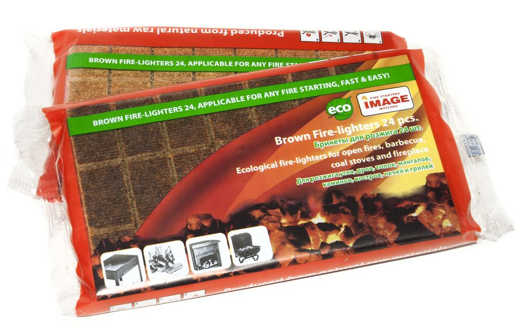 Брикеты для розжига Image, 24 шт40649Брикеты предназначены для разжигания угля, дров, топок, костров, печей, мангалов и грилей. Легко и быстро разгораются сильным пламенем. Время горения 1шт – 6 мин. С помощью брикетов можно без труда разжечь огонь в сырую и ветреную погоду, даже в случае намокания. Состав: пакет, пленка ПВХ, ДВП, пропитывающий состав из парафина.