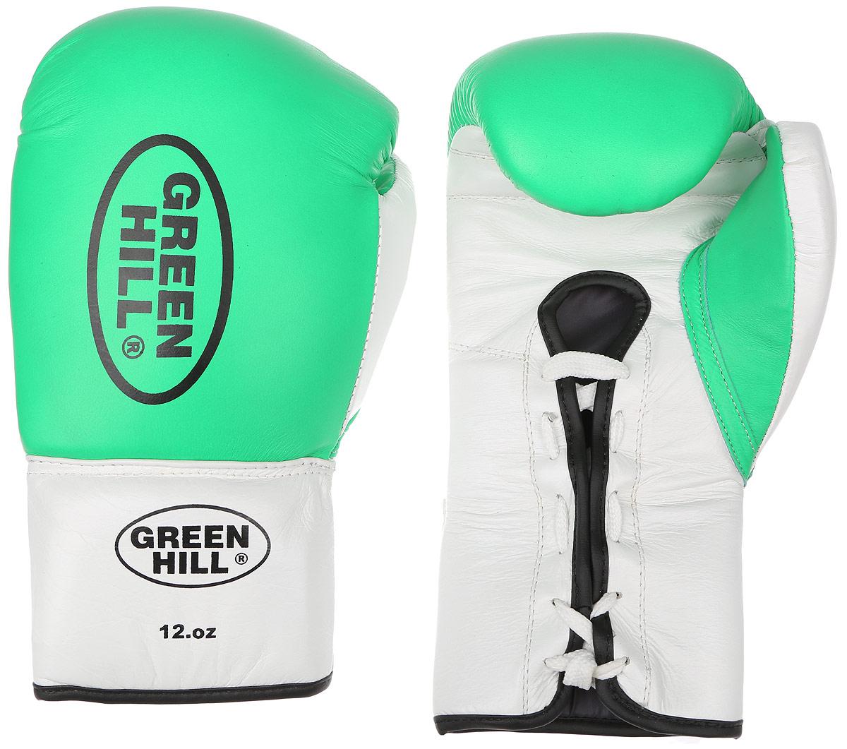 Перчатки боксерские Green Hill Proffi, цвет: зеленый, белый, черный. Вес 12 унций. BGP-2014AIRWHEEL M3-162.8Боксерские перчатки Green Hill Proffi предназначены для использования профессионалами. Верх выполнен из натуральной кожи, наполнитель - из вспененного полимера. Отверстие в области ладони позволяет создать максимально комфортный терморежим во время занятий. Манжет на шнуровке способствует быстрому и удобному надеванию перчаток, плотно фиксирует перчатки на руке.