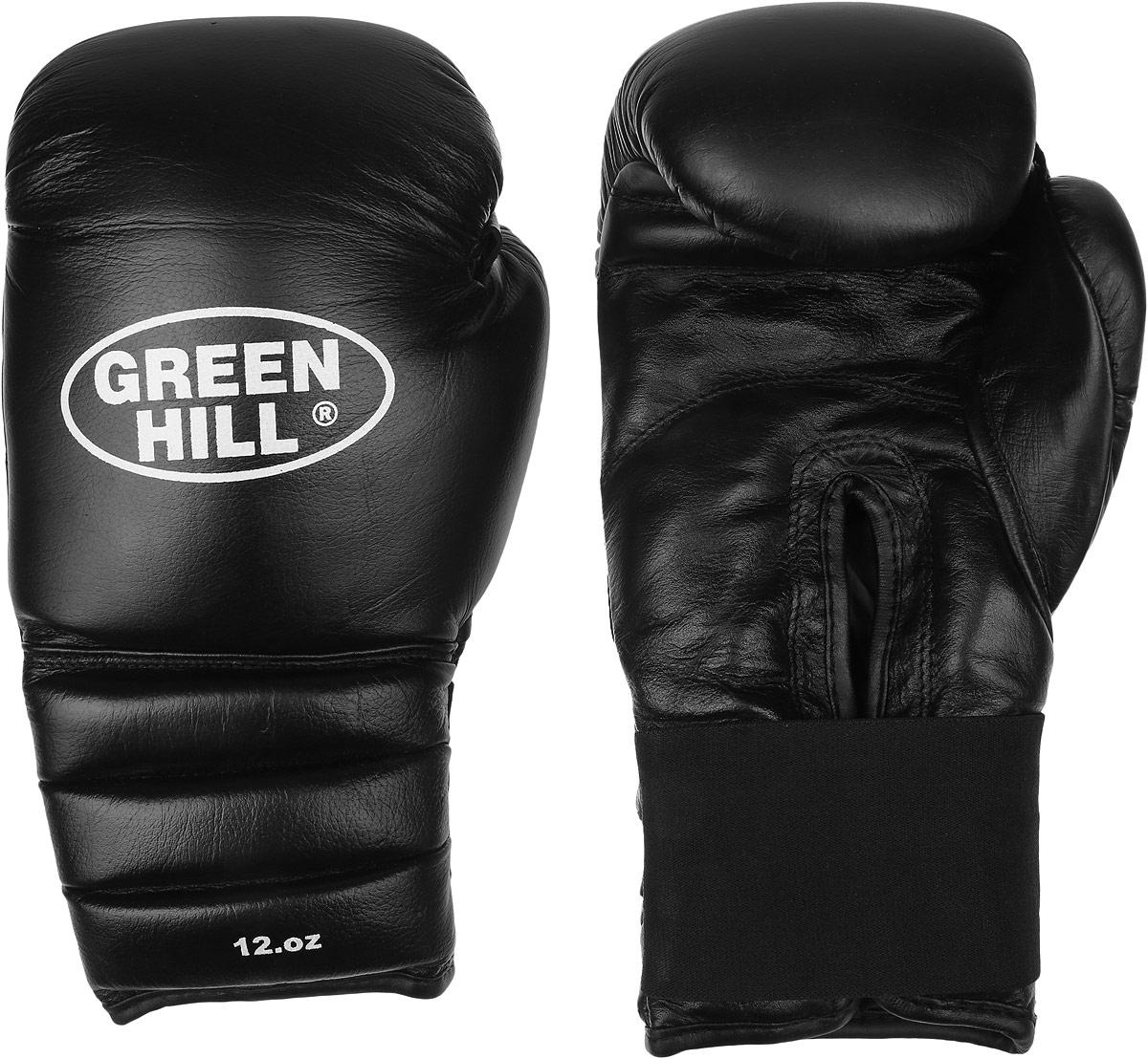 Перчатки боксерские Green Hill Pro Star, цвет: черный, белый. Вес 12 унций. BGPS-2012AIRWHEEL M3-162.8Тренировочные боксерские перчатки Green Hill Pro Star отлично подойдут для спаррингов. Верх выполнен из натуральной кожи, наполнитель - из вспененного полимера. Отверстие в области ладони позволяет создать максимально комфортный терморежим во время занятий. Удлиненный сегментированный манжет способствует быстрому и удобному надеванию перчаток, плотно фиксирует их на руке.