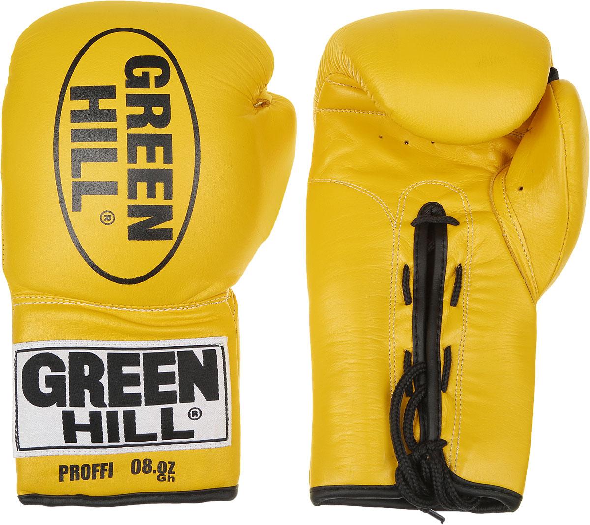 Перчатки боксерские Green Hill Proffi, цвет: желтый, черный. Вес 8 унций. BGP-2014SF 0085Боксерские перчатки Green Hill Proffi предназначены для использования профессионалами. Верх выполнен из натуральной кожи, наполнитель - из вспененного полимера. Отверстие в области ладони позволяет создать максимально комфортный терморежим во время занятий. Манжет на шнуровке способствует быстрому и удобному надеванию перчаток, плотно фиксирует перчатки на руке.