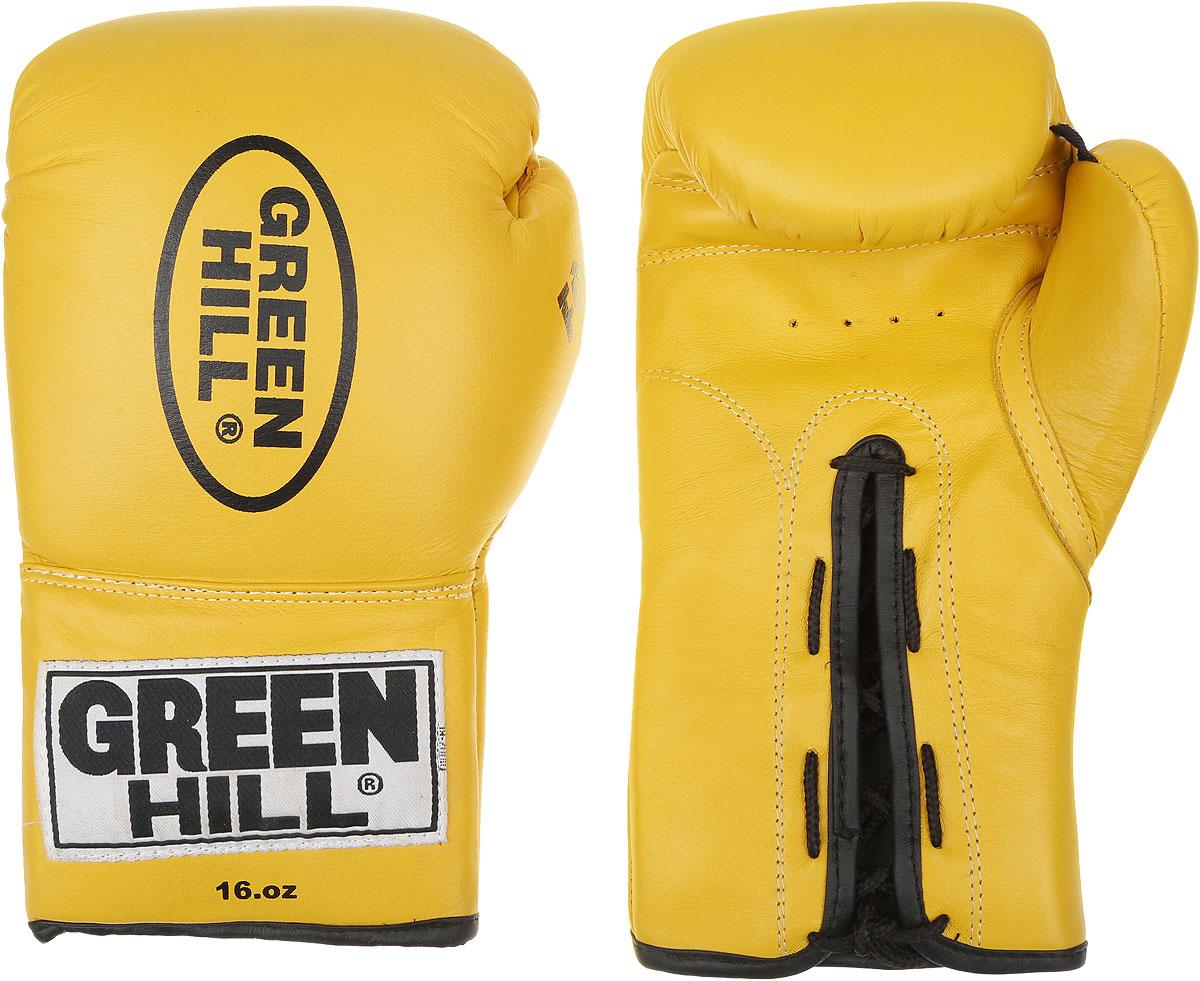 Перчатки боксерские Green Hill Force, цвет: желтый, черный. Вес 16 унций. BGF-1215BGT-2010аБоксерские перчатки Green Hill Force предназначены для использования профессионалами и любителями. Верх выполнен из натуральной кожи, наполнитель - из вспененного полимера. Отверстия в области ладони позволяет создать максимально комфортный терморежим во время занятий. Манжет на шнуровке способствует быстрому и удобному надеванию перчаток, плотно фиксирует перчатки на руке.