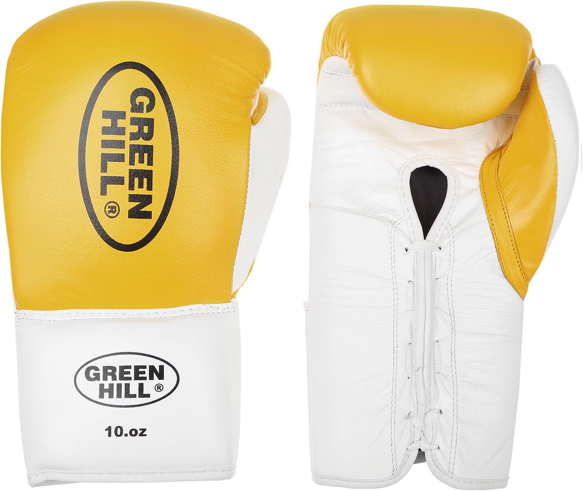 Перчатки боксерские Green Hill Proffi, цвет: желтый, черный, белый. Вес 10 унций. BGP-2014AIRWHEEL M3-162.8Боксерские перчатки Green Hill Proffi предназначены для использования профессионалами. Верх выполнен из натуральной кожи, наполнитель - из вспененного полимера. Отверстие в области ладони позволяет создать максимально комфортный терморежим во время занятий. Манжет на шнуровке способствует быстрому и удобному надеванию перчаток, плотно фиксирует перчатки на руке.