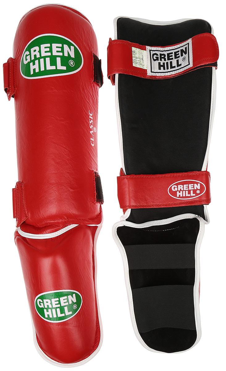 Защита голени и стопы Green Hill Classic, цвет: красный, белый. Размер XL. SIC-0019SPT-2123Защита голени и стопы Green Hill Classic с наполнителем, выполненным из вспененного полимера, необходима при занятиях спортом для защиты пальцев и суставов от вывихов, ушибов и прочих повреждений. Накладки выполнены из высококачественной натуральной кожи. Они надежно фиксируются за счет ленты и липучек.Удобные и эргономичные накладки Green Hill Classic идеально подойдут для занятий тхэквондо и другими видами единоборств.Длина голени: 37 см.Ширина голени: 16 см.Длина стопы: 21 см.Ширина стопы: 12 см.