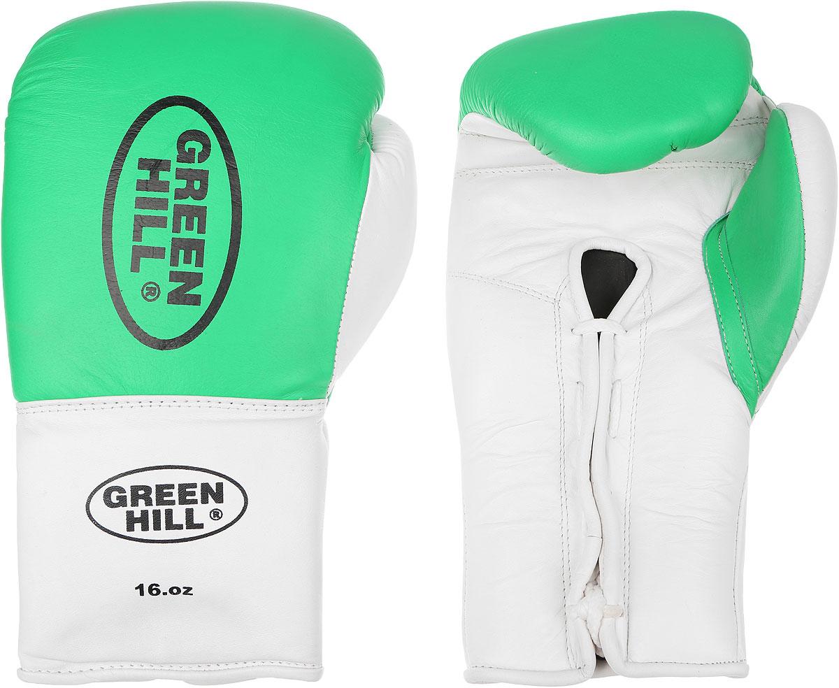 Перчатки боксерские Green Hill Proffi, цвет: зеленый, белый, черный. Вес 16 унций. BGP-2014BGC-2041Боксерские перчатки Green Hill Proffi предназначены для использования профессионалами. Верх выполнен из натуральной кожи, наполнитель - из вспененного полимера. Отверстие в области ладони позволяет создать максимально комфортный терморежим во время занятий. Манжет на шнуровке способствует быстрому и удобному надеванию перчаток, плотно фиксирует перчатки на руке.