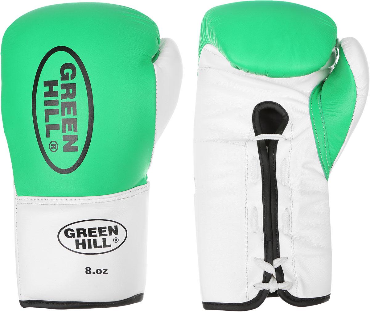 Перчатки боксерские Green Hill Proffi, цвет: зеленый, белый, черный. Вес 8 унций. BGP-2014AIRWHEEL M3-162.8Боксерские перчатки Green Hill Proffi предназначены для использования профессионалами. Верх выполнен из натуральной кожи, наполнитель - из вспененного полимера. Отверстие в области ладони позволяет создать максимально комфортный терморежим во время занятий. Манжет на шнуровке способствует быстрому и удобному надеванию перчаток, плотно фиксирует перчатки на руке.