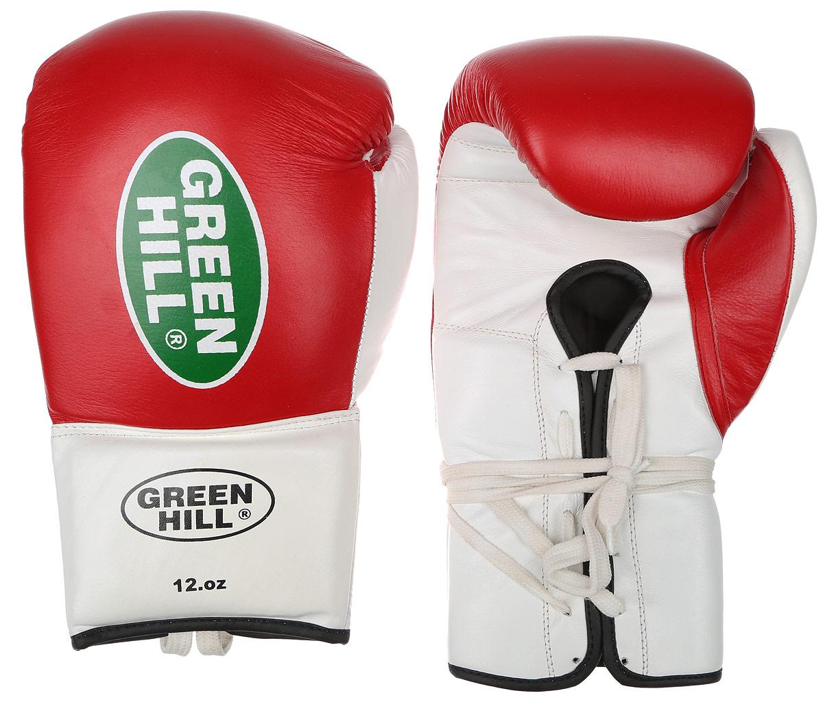 Перчатки боксерские Green Hill Proffi, цвет: красный, белый. Вес 12 унций. BGP-2014BGT-2010аБоксерские перчатки Green Hill Proffi предназначены для использования профессионалами. Верх выполнен из натуральной кожи, наполнитель - из вспененного полимера. Отверстие в области ладони позволяет создать максимально комфортный терморежим во время занятий. Манжет на шнуровке способствует быстрому и удобному надеванию перчаток, плотно фиксирует перчатки на руке.