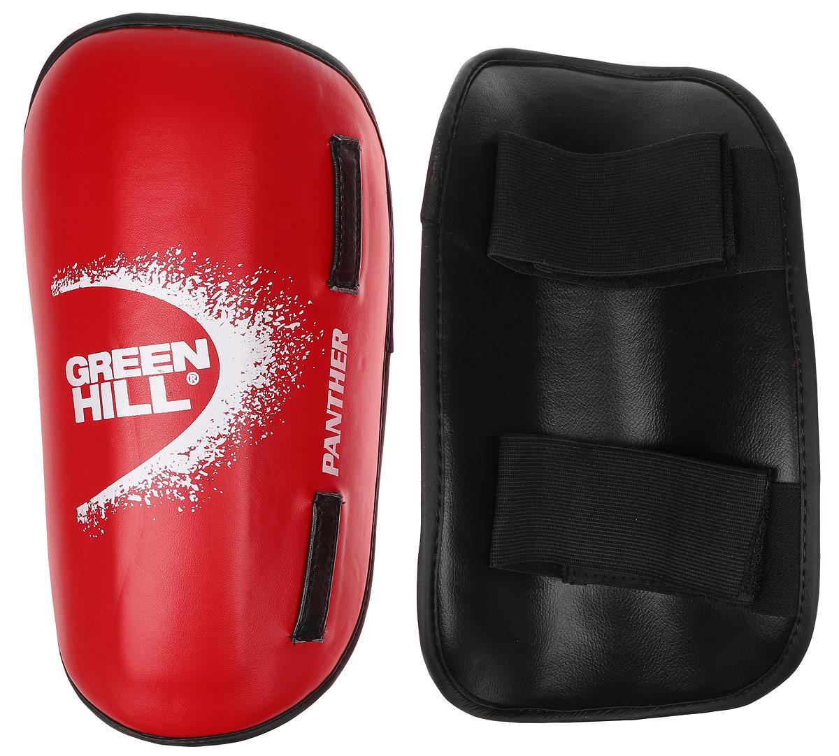 Защита голени Green Hill Panther, цвет: красный, белый. Размер S. SPP-2124BB1637Защита голени Green Hill Panther с наполнителем, выполненным из вспененного полимера, необходима при занятиях спортом для защиты суставов от вывихов, ушибов и прочих повреждений. Накладки выполнены из высококачественной искусственной кожи. Закрепляются на ноге при помощи эластичных лент и липучек.Длина голени: 30 см.Ширина голени: 15 см.