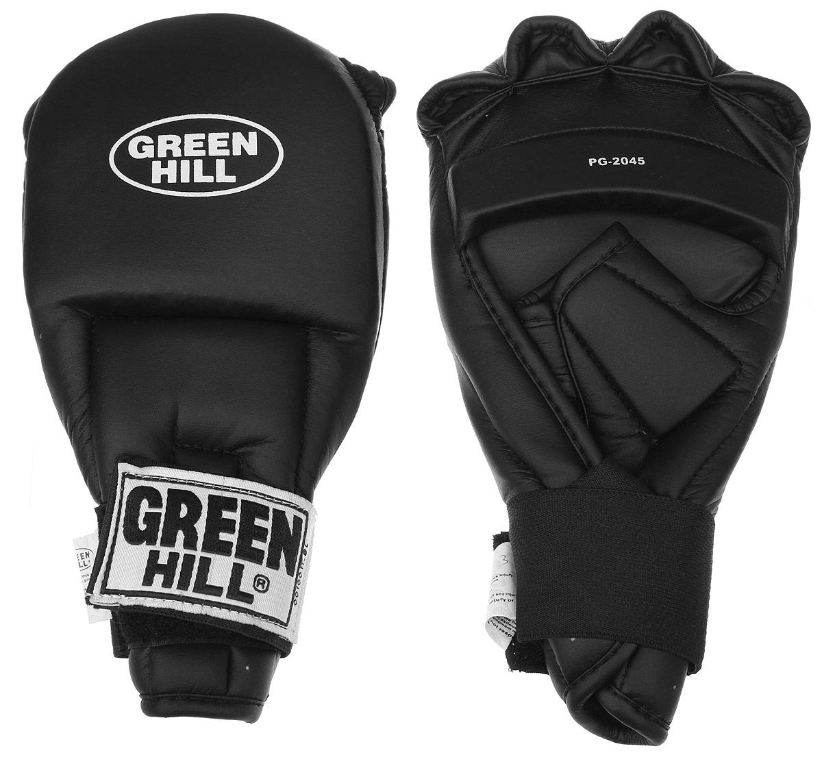 Перчатки для рукопашного боя Green Hill, цвет: черный. Размер L. PG-2045BGS-2039Перчатки для рукопашного боя Green Hill произведены из высококачественной искусственной кожи. Подойдут для занятий кунг-фу. Конструкция предусматривает открытые пальцы - необходимый атрибут для проведения захватов. Манжеты на липучках позволяют быстро снимать и надевать перчатки без каких-либо неудобств. Анатомическая посадка предохраняет руки от повреждений.