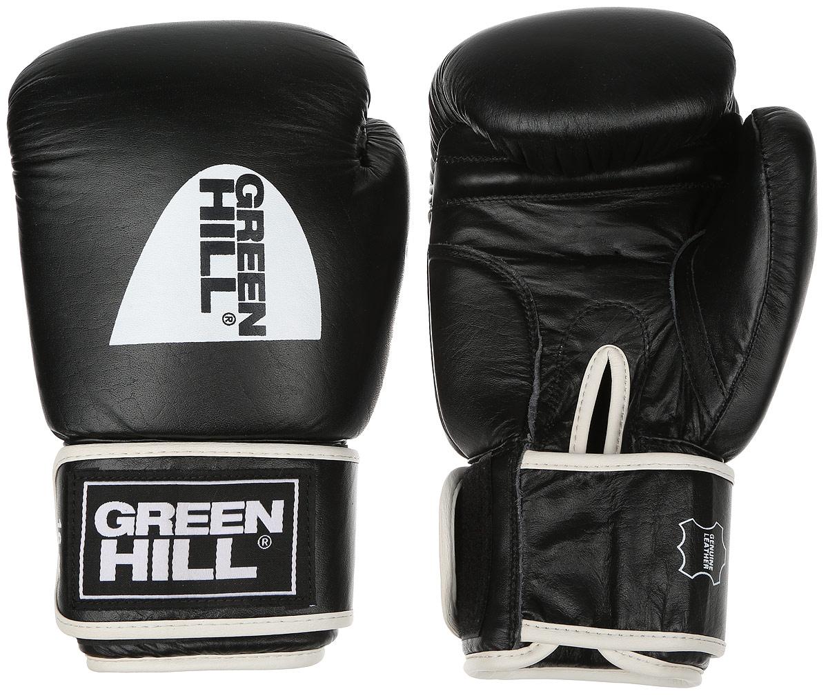 Перчатки боксерские Green Hill Gym, цвет: черный, белый. Вес 16 унцийBGA-2024Боксерские перчатки Green Hill Gym подходят для всех видов единоборств где применяют перчатки. Подойдет как для бокса, так и для кикбоксинга. Новички и профессионалы высоко ценят эту модель за универсальность. Верхняя часть перчатки выполнена из натуральной кожи, наполнитель - пенополиуретан. Перфорированная поверхность в области ладони позволяет создать максимально комфортный терморежим во время занятий. Закрепляется на руке при помощи липучки.