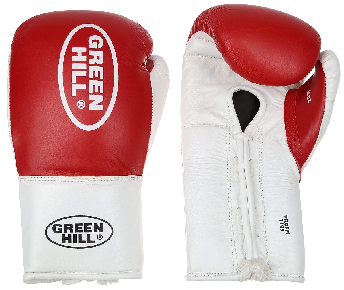 Перчатки боксерские Green Hill Proffi, цвет: красный, белый. Вес 8 унций. BGP-2014CMR-2076Боксерские перчатки Green Hill Proffi предназначены для использования профессионалами. Верх выполнен из натуральной кожи, наполнитель - из вспененного полимера. Отверстие в области ладони позволяет создать максимально комфортный терморежим во время занятий. Манжет на шнуровке способствует быстрому и удобному надеванию перчаток, плотно фиксирует перчатки на руке.