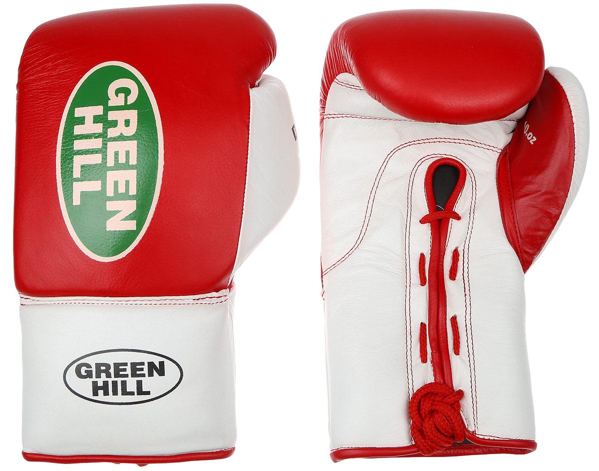 Перчатки боксерские Green Hill Dove, цвет: красный, белый. Вес 10 унций. BGD-2050310994Боксерские перчатки Green Hill Dove предназначены для использования профессионалами. Оснащены антинакаутной системой. Верх выполнен из натуральной кожи, наполнитель - из вспененного полимера. Отверстие в области ладони позволяет создать максимально комфортный терморежим во время занятий. Манжет на шнуровке способствует быстрому и удобному надеванию перчаток, плотно фиксирует перчатки на руке.