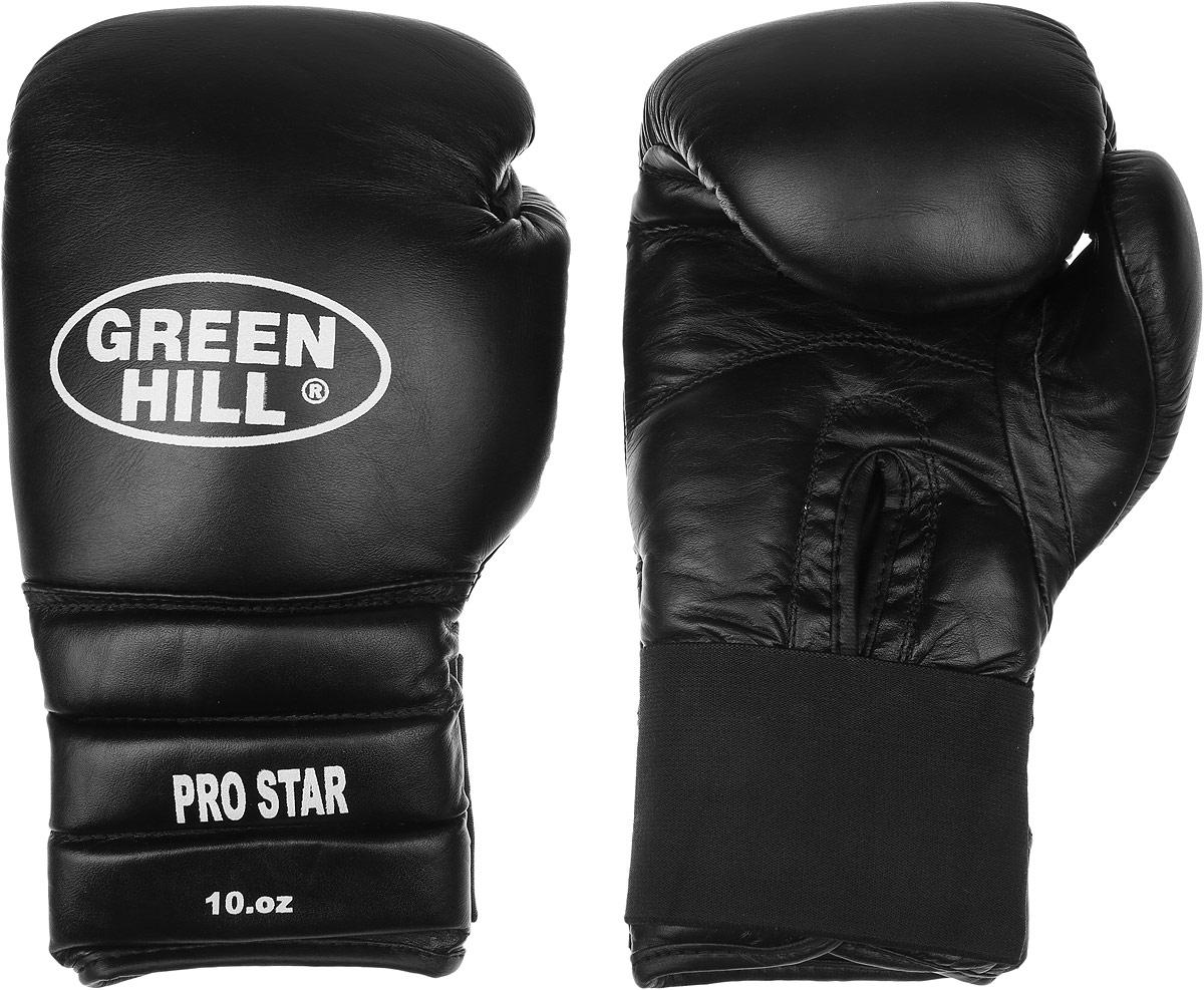 Перчатки боксерские Green Hill Pro Star, цвет: черный, белый. Вес 10 унций. BGPS-2012AIRWHEEL Q3-340WH-BLACKТренировочные боксерские перчатки Green Hill Pro Star отлично подойдут для спаррингов. Верх выполнен из натуральной кожи, наполнитель - из вспененного полимера. Отверстие в области ладони позволяет создать максимально комфортный терморежим во время занятий. Удлиненный сегментированный манжет способствует быстрому и удобному надеванию перчаток, плотно фиксирует их на руке. Уважаемые клиенты! Обращаем ваше внимание на возможные изменения в цвете некоторых деталей товара. Поставка осуществляется в зависимости от наличия на складе.