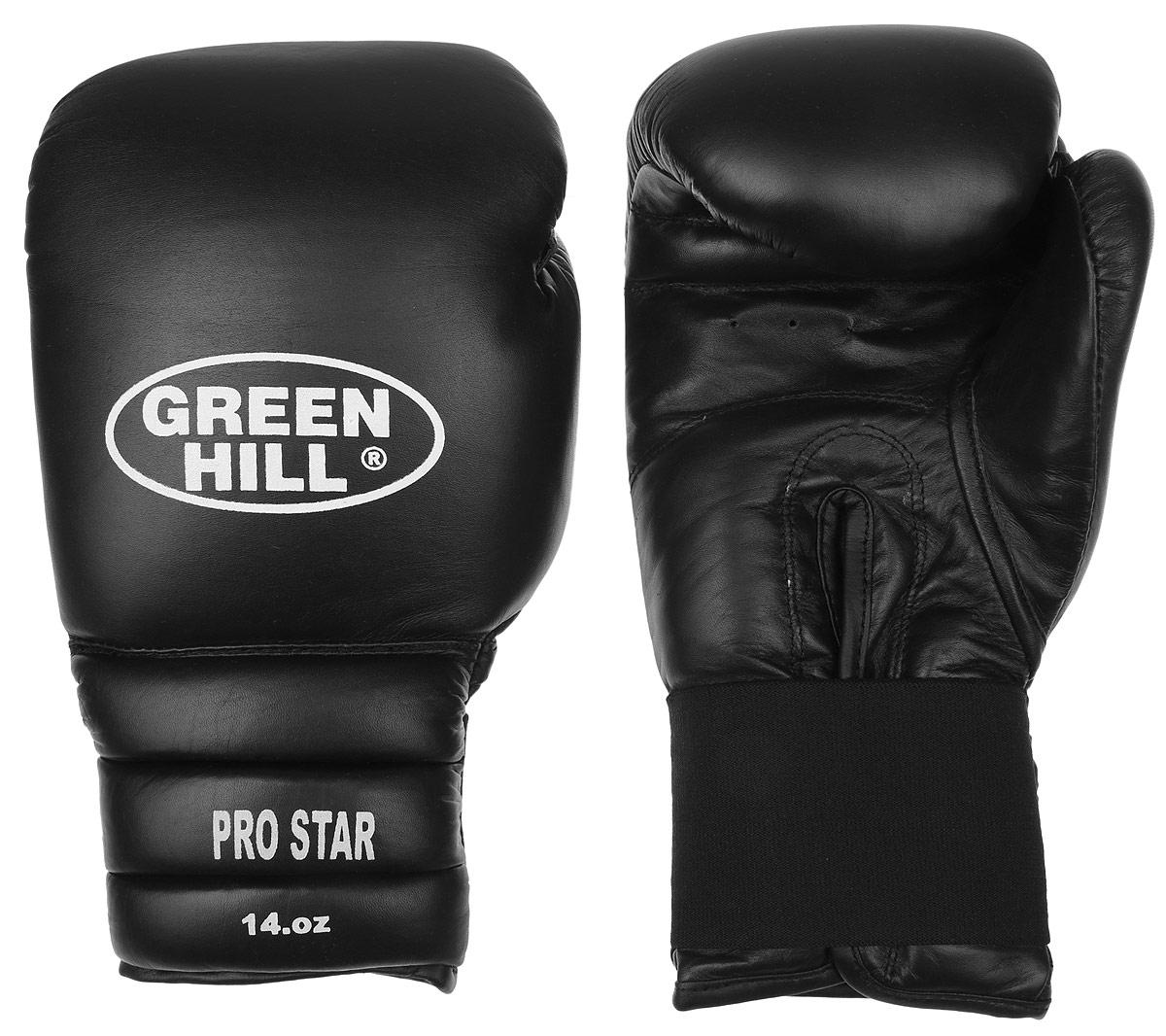 Перчатки боксерские Green Hill Pro Star, цвет: черный, белый. Вес 14 унций. BGPS-2012УТ-00008917Тренировочные боксерские перчатки Green Hill Pro Star отлично подойдут для спаррингов. Верх выполнен из натуральной кожи, наполнитель - из вспененного полимера. Отверстие в области ладони позволяет создать максимально комфортный терморежим во время занятий. Удлиненный сегментированный манжет способствует быстрому и удобному надеванию перчаток, плотно фиксирует их на руке.