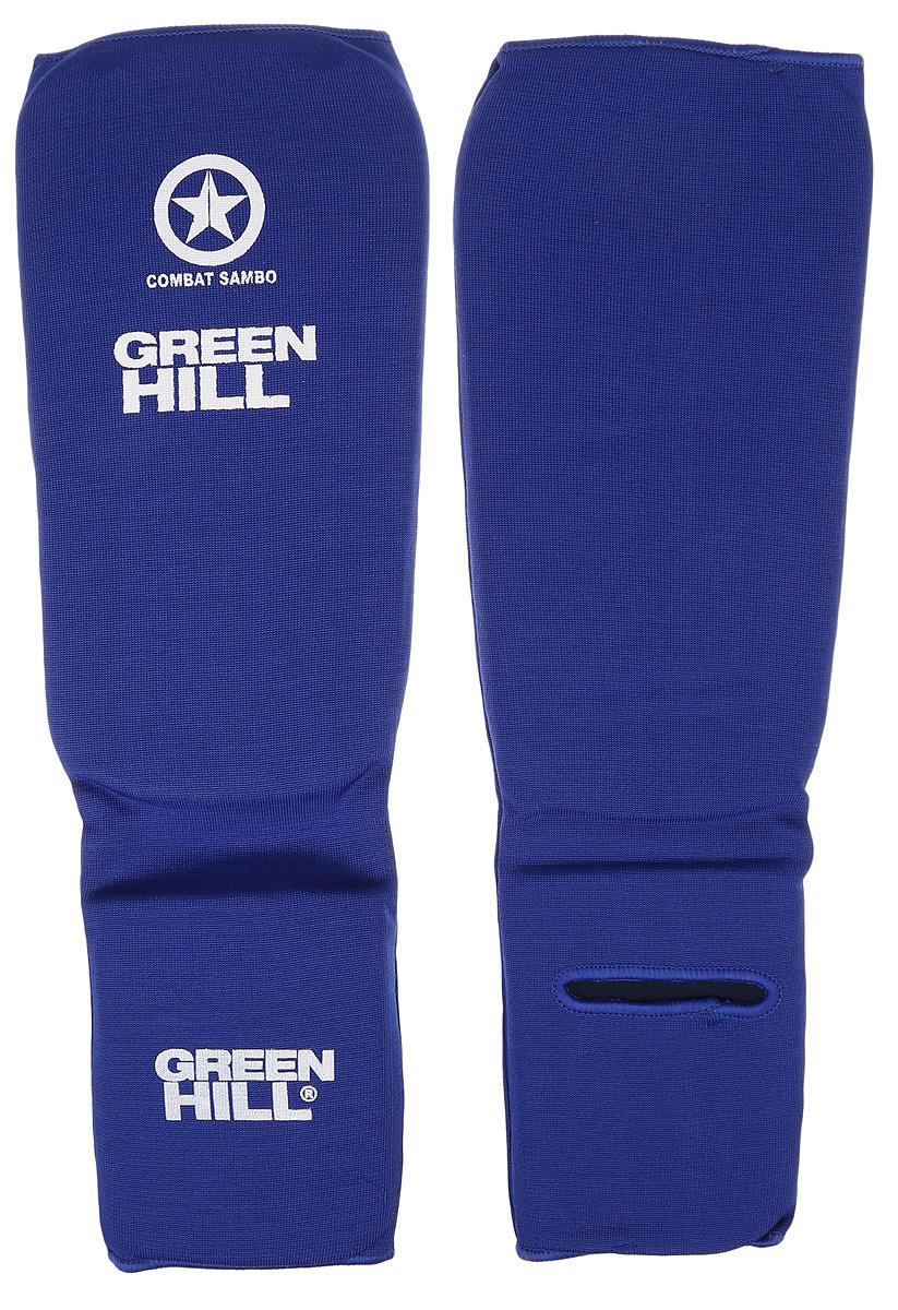 Защита голени и стопы Green Hill Combat Sambo, цвет: синий, белый. Размер XL. SC-61312SC-61312XLЗащита голени и стопы Green Hill Combat Sambo с наполнителем, выполненным из вспененного полимера, необходима при занятиях спортом для защиты пальцев и суставов от вывихов, ушибов и прочих повреждений. Накладки выполнены из высококачественного полиэстера и хлопка.Длина голени: 29 см.Ширина голени: 15,5 см.Длина стопы: 15,5 см.Ширина стопы: 12 см.