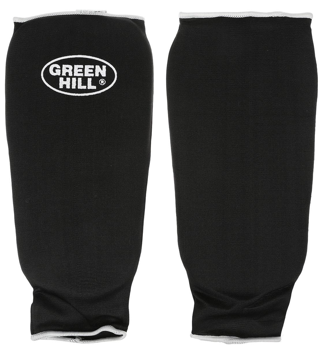 Защита голени Green Hill, цвет: черный, белый. Размер XL. SPC-6210SX5346-100Защита голени Green Hill с наполнителем, выполненным из вспененного полимера, необходима при занятиях спортом для защиты суставов от вывихов, ушибов и прочих повреждений. Накладки выполнены из высококачественного эластана и хлопка.Длина голени: 29 см.Ширина голени: 15 см.