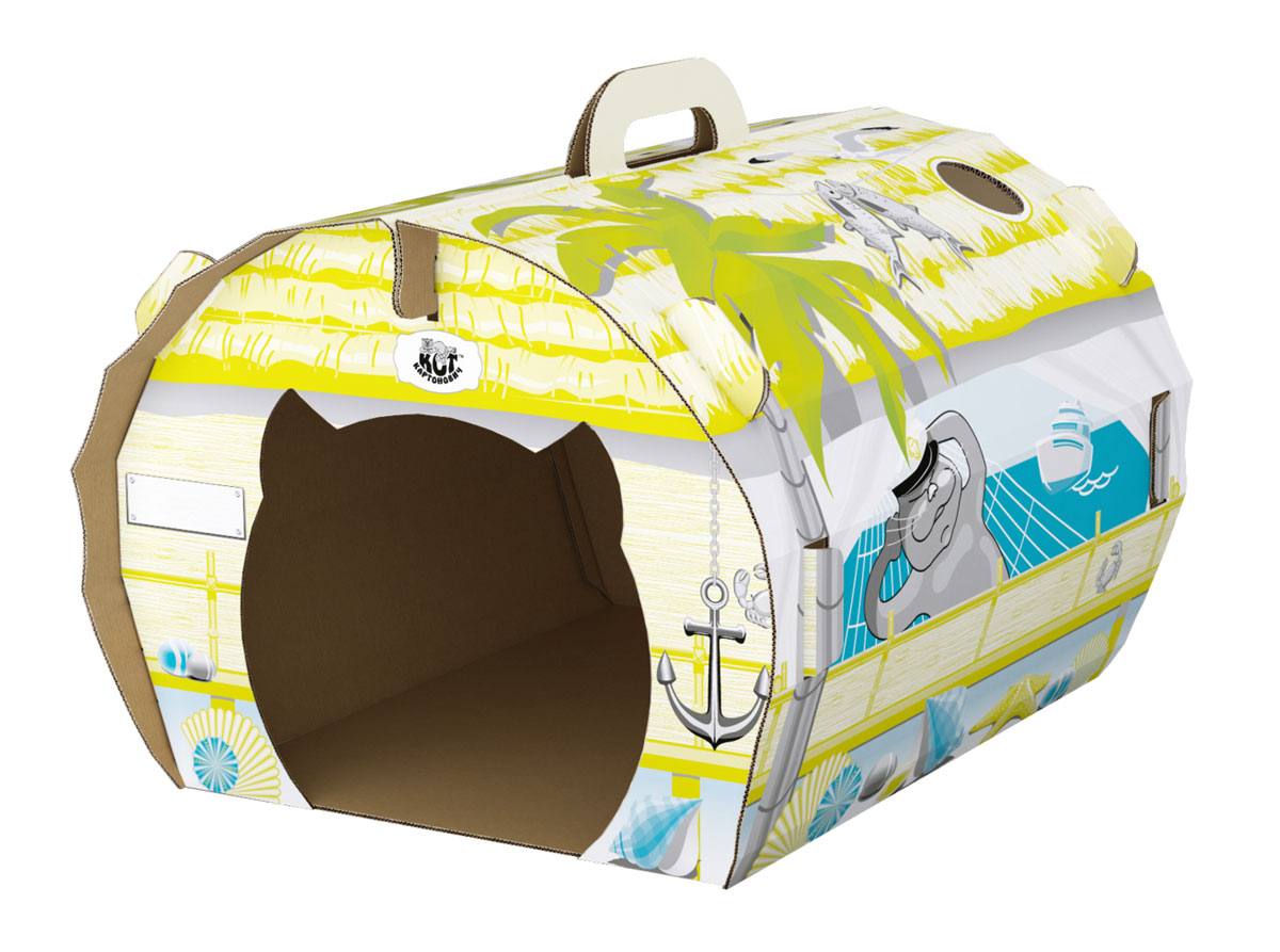 Домик для кошек Кот Картонович На море, 42 х 34 х 31,6 см0120710Картонный домик для кошек Кот Картонович На море имеет веселый и яркий морской дизайн, который будет радовать вас и вашего любимца. Он станет отличным напоминанием о прошедшем или будущем отпуске. Солнце, море, чайки и ваши фантазии уносят вас в жаркое лето.Для веселых игр предусмотрено необычное окошко в крыше домика, через него удобно наблюдать за любимцем. Домик очень компактный в разобранном виде и не займет много места при транспортировке.