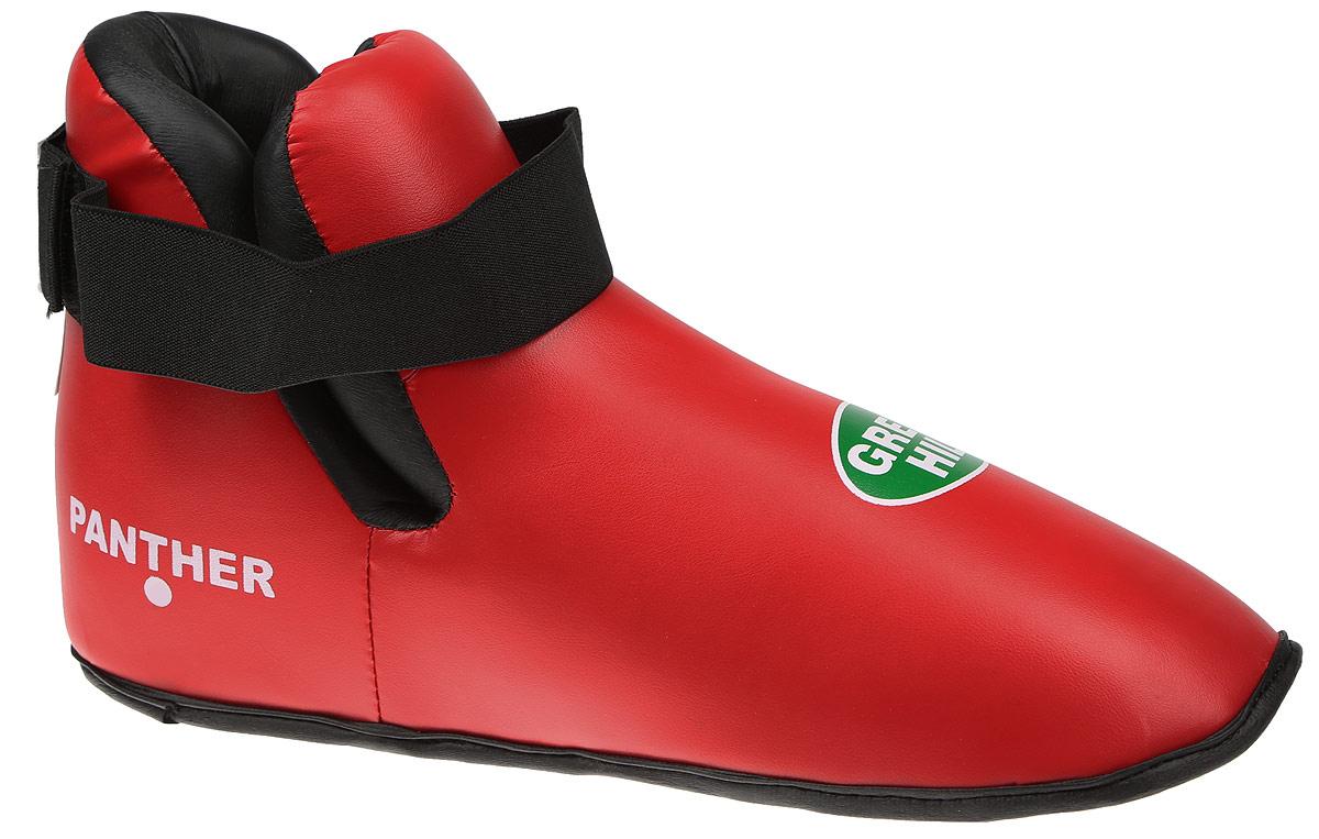 Футы Green Hill Panther, цвет: красный, черный. Размер L. KBSP-3076adiTFS01Футы Green Hill Panther применяются для занятий кикбоксингом. Выполнены из высококачественной искусственной кожи, наполнитель - вспененный полимер. Резинки на липучке в задней части футов обеспечивают лучшую фиксацию ноги.Длина стопы: 31 см. Ширина: 13 см.Размер ноги должен быть меньше на 1-1,5 см.