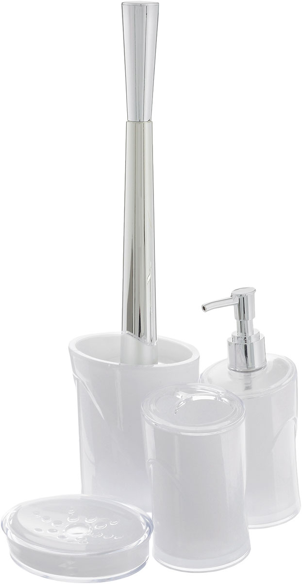 Набор для ванной комнаты Indecor, цвет: белый, 4 предмета. IND03968/5/4Набор для ванной комнаты Indecor состоит из стакана для зубных щеток, дозатора для жидкого мыла, мыльницы и ершика. Стакан, дозатор, мыльница и ершик изготовлены из высококачественного пластика. Аксессуары, входящие в набор Indecor, выполняют не только практическую, но и декоративную функцию. Они способны внести в помещение изысканность, сделать пребывание в нем приятным и даже незабываемым. Размер стакана для зубных щеток: 7 х 7 х 11 см.Объем стакана: 300 мл.Размер дозатора: 7 х 7 х 17,5 см. Объем дозатора: 300 мл.Размер мыльницы: 11,5 х 9 х 3 см.Длина ершика (с ручкой): 35 см. Размер подставки: 9,5 х 9,5 х 13 см.