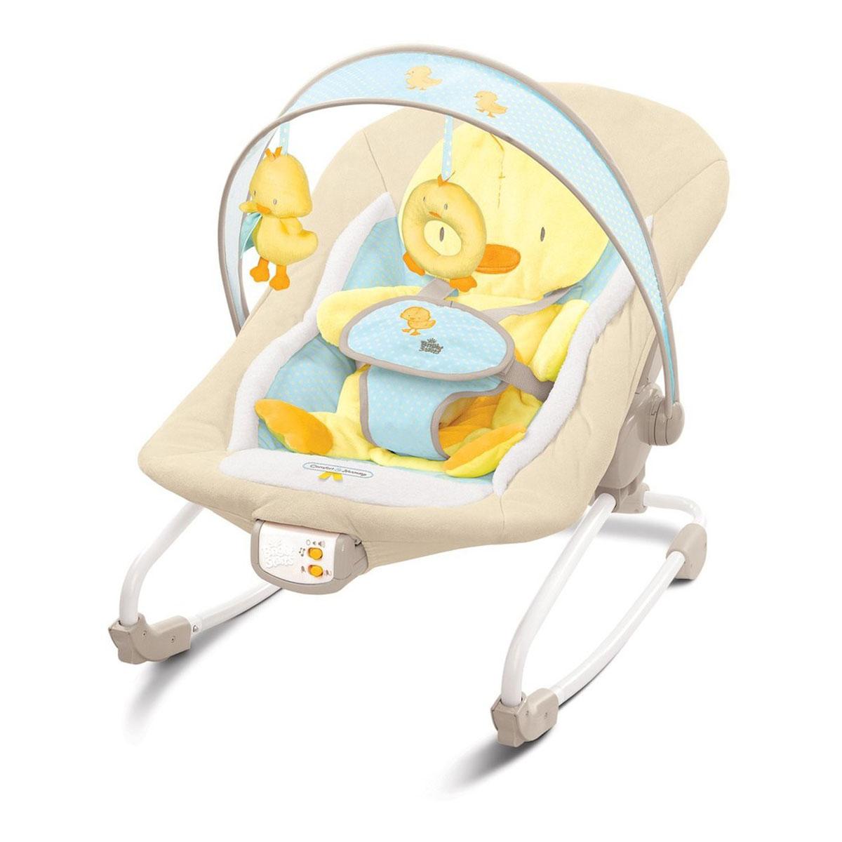 """Шезлонг Bright Starts """"Утенок"""" предназначен для детей с рождения. Шезлонг можно использовать как качалку, а можно зафиксировать сиденье. Благодаря качалке увеличенного размера малыш всегда может быть """"под присмотром"""", даже когда вы отдыхаете или занимаетесь своими делами! Шезлонг позволяет держать ребенка на виду, обеспечив ему максимальный комфорт и безопасность. Очень удобное кресло надежно удержит малыша во время бодрствования ремнем безопасности, а функция качалки и вибрация развлечет и позабавит его. Шезлонг содержит 7 мелодий, имеется регулировка громкости, и автоматическое отключение через 15 минут. Съемная перекладина для игрушек может поворачиваться для быстрого доступа к ребенку. Игрушки притягивают внимание малыша, развивают зрительные навыки и моторику. Сиденье можно стирать в стиральной машине. Шезлонг имеет специальные """"нескользкие"""" ножки. Легко складывается для хранения. Необходимо купить 3 батарейки типа """"C"""" (не входят в комплект)."""