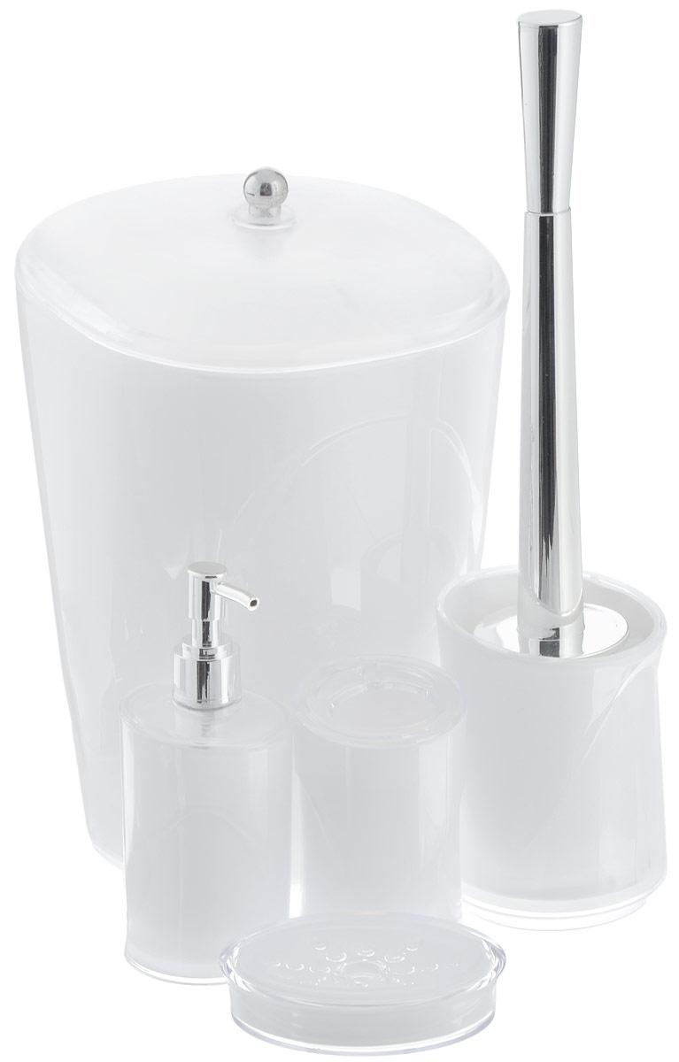 Набор для ванной комнаты Indecor, цвет: белый, 5 предметовА1102614Набор для ванной комнаты Indecor состоит из стакана для зубных щеток, дозатора для жидкого мыла, мыльницы, ершика и ведра с крышкой. Стакан, дозатор, мыльница, ершик и ведро изготовлены из высококачественного пластика. Аксессуары, входящие в набор Indecor, выполняют не только практическую, но и декоративную функцию. Они способны внести в помещение изысканность, сделать пребывание в нем приятным и даже незабываемым. Размер стакана для зубных щеток: 7 х 7 х 11 см.Объем стакана: 300 мл.Размер дозатора: 7 х 7 х 17,5 см. Объем дозатора: 300 мл.Размер мыльницы: 11,5 х 9 х 3 см.Длина ершика (с ручкой): 35 см. Размер подставки для ершика: 9,5 х 9,5 х 13 см.Размер ведра (без учета крышки): 20 х 20 х 26,5 см.Объем ведра: 5 л.