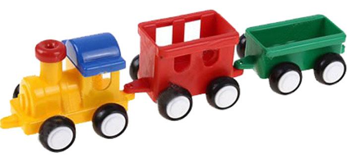 """Паровозик Форма """"Детский сад"""" - это яркий и абсолютно безопасный паровозик, выполненный из прочных материалов. Паровозик с двумя вагонами обязательно порадует малыша и станет замечательным подарком для юного железнодорожника. Паровоз и два вагона крепко сцеплены друг с другом, имеют широкие нескользящие колеса, благодаря которым не будут буксовать даже на гладкой поверхности. В паровоз и вагоны можно посадить маленькие фигурки."""