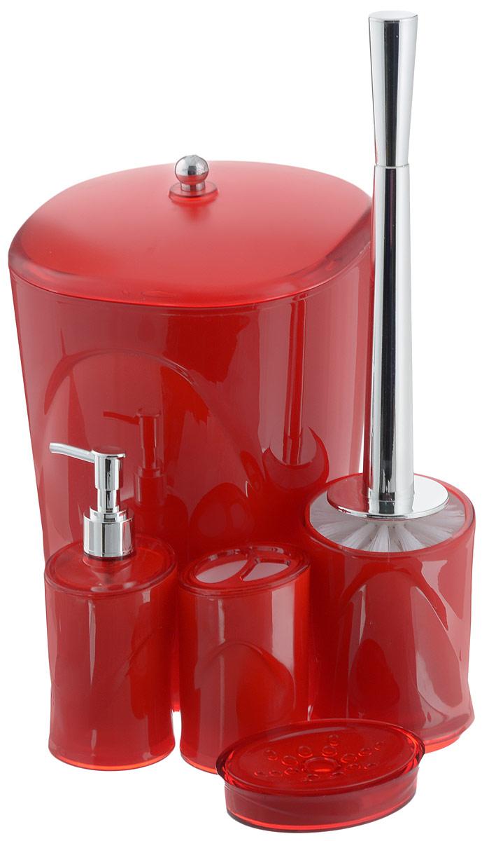 Набор для ванной комнаты Indecor, цвет: красный, 5 предметовА0020107Набор для ванной комнаты Indecor состоит из стакана для зубных щеток, дозатора для жидкого мыла, мыльницы, ершика и ведра с крышкой. Стакан, дозатор, мыльница, ершик и ведро изготовлены из высококачественного пластика. Аксессуары, входящие в набор Indecor, выполняют не только практическую, но и декоративную функцию. Они способны внести в помещение изысканность, сделать пребывание в нем приятным и даже незабываемым. Размер стакана для зубных щеток: 7 х 7 х 11 см.Объем стакана: 300 мл.Размер дозатора: 7 х 7 х 17,5 см. Объем дозатора: 300 мл.Размер мыльницы: 11,5 х 9 х 3 см.Длина ершика (с ручкой): 35 см. Размер подставки для ершика: 9,5 х 9,5 х 13 см.Размер ведра (без учета крышки): 20 х 20 х 26,5 см.Объем ведра: 5 л.