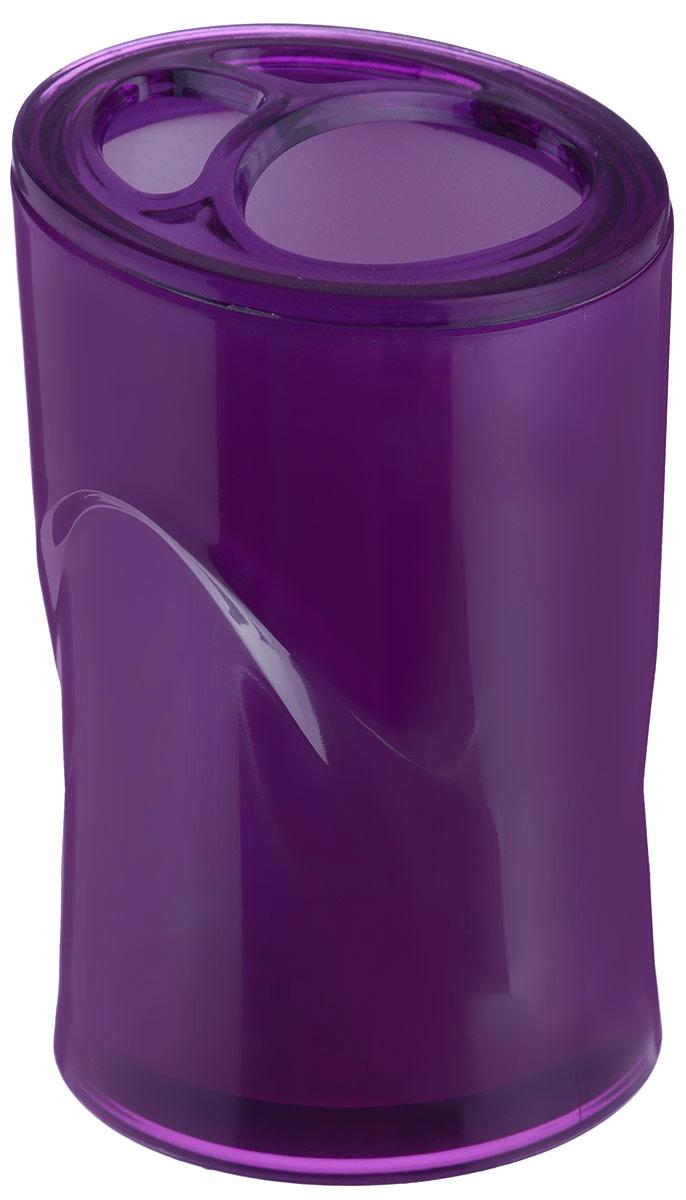 Стакан для зубных щеток Indecor, цвет: фиолетовый, высота 11 см531-105Оригинальный стакан для зубных щеток Indecor изготовлен из пластика и отлично подойдет для вашей ванной комнаты. Стильный дизайн изделия притягивает взгляд и прекрасно подойдет к интерьеру в ванной комнаты.Размер стакана: 7 х 7 х 11 см.
