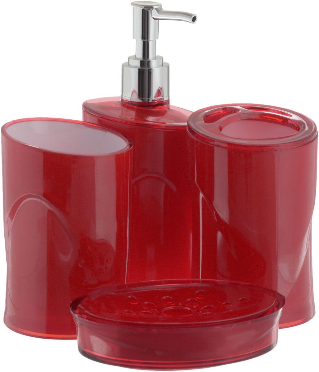 Набор для ванной комнаты Indecor, цвет: красный, 4 предмета22270306Набор для ванной комнаты Indecor состоит из стакана, стакана для зубных щеток, дозатора для жидкого мыла и мыльницы. Стаканы, дозатор и мыльница изготовлены из высококачественного пластика. Аксессуары, входящие в набор Indecor, выполняют не только практическую, но и декоративную функцию. Они способны внести в помещение изысканность, сделать пребывание в нем приятным и даже незабываемым. Размер стаканов: 7 х 7 х 11 см.Объем стаканов: 300 мл.Размер дозатора: 7 х 7 х 17,5 см. Объем дозатора: 300 мл.Размер мыльницы: 11,5 х 9 х 3 см.