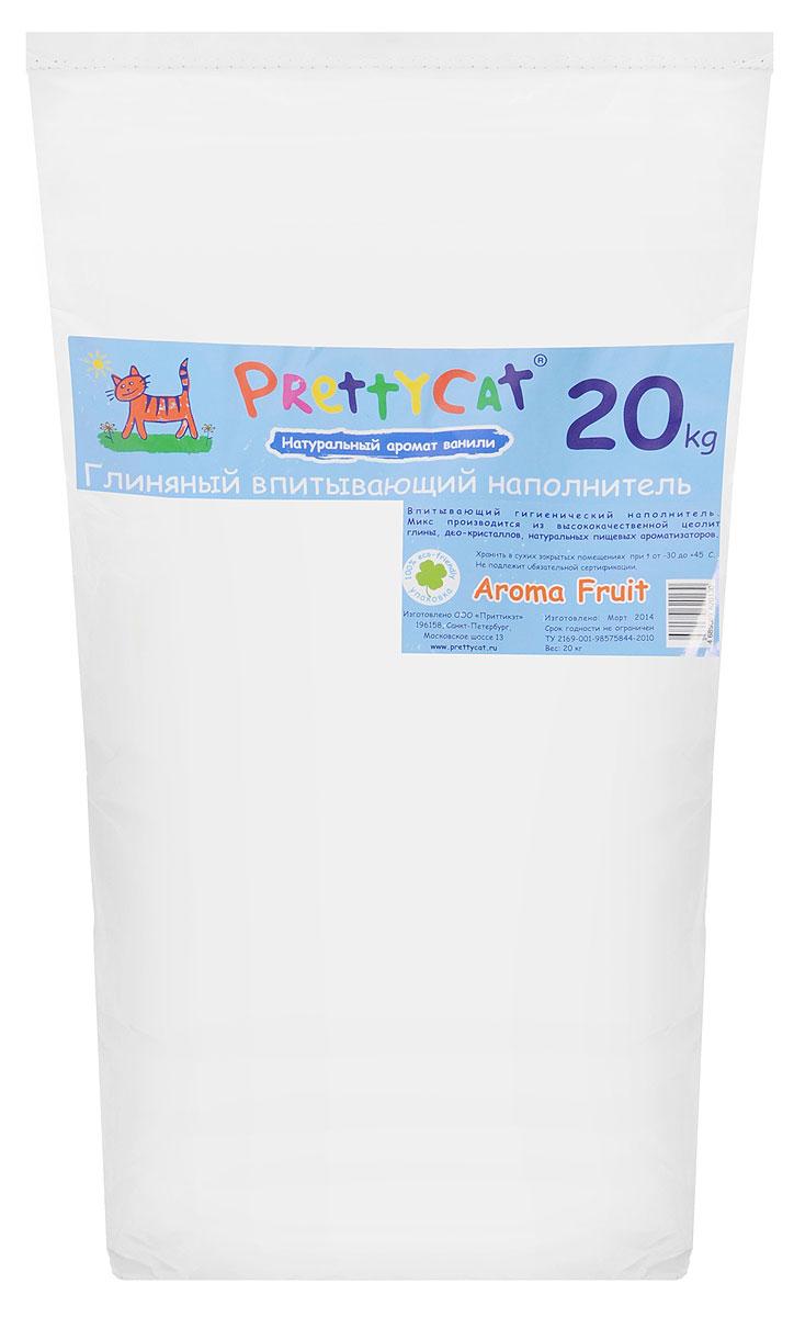 Наполнитель для кошачьих туалетов PrettyCat Aroma Fruit, с део-кристаллами, с ароматом ванили, 20 кг0120710Наполнитель для кошачьих туалетов PrettyCat Aroma Fruit - это впитывающий глиняный наполнитель. Он изготовлен из высококачественной цеолит глины с део-кристаллами и натуральными пищевыми арома-маслами. Это абсолютно экологически чистый продукт. Натуральный пищевой ароматизатор с ароматом ванили безопасен для вашей кошки. От ее лапок всегда будет вкусно пахнуть ванилью. Глиняные гранулы прекрасно впитывают жидкость, предотвращая размножение бактерий и появление пыли. Особые део-кристаллы устраняют запах, оставляя только нежный аромат. Впитывающий глиняный наполнитель нравится абсолютно всем кошкам и их хозяевам.Вес 20 кг.Состав: цеолит глина, део-кристаллы, арома-масла.Товар сертифицирован.