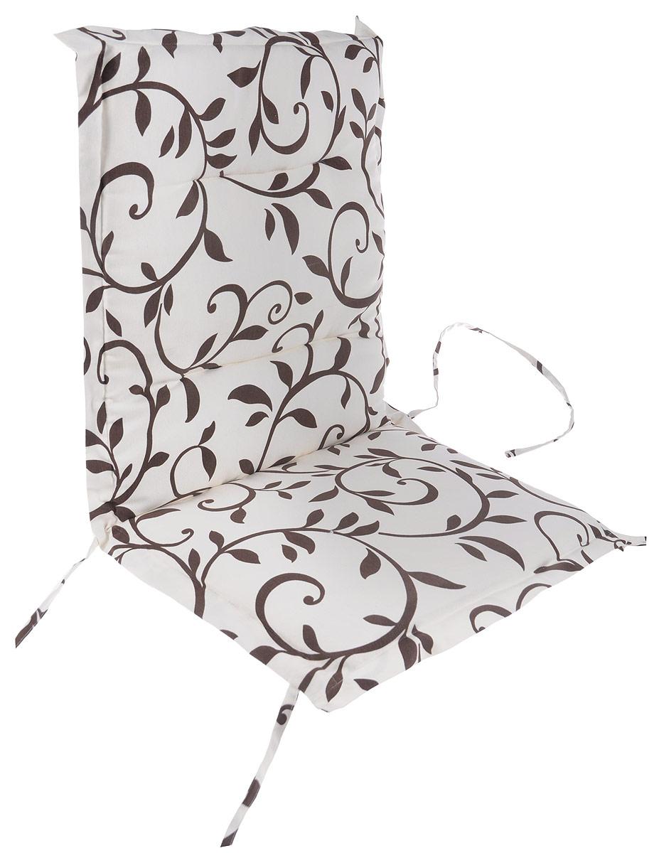 Подушка на стул KauffOrt Лоза, со спинкой, 50 x 100 смVT-1520(SR)Подушка на стул KauffOrt Лоза не только красиво дополнит интерьер кухни, но и обеспечит комфорт при сидении. Чехол выполнен из поликоттона (хлопок и полиэстер) и украшен принтом. Внутри - мягкий наполнитель из поролона. Подушка легко крепится на стул с помощью завязок и резинки. Правильно сидеть - значит сохранить здоровье на долгие годы. Жесткие сидения подвергают наше здоровье опасности. Подушка с мягким наполнителем поможет предотвратить многие беды, которыми грозит сидячий образ жизни.