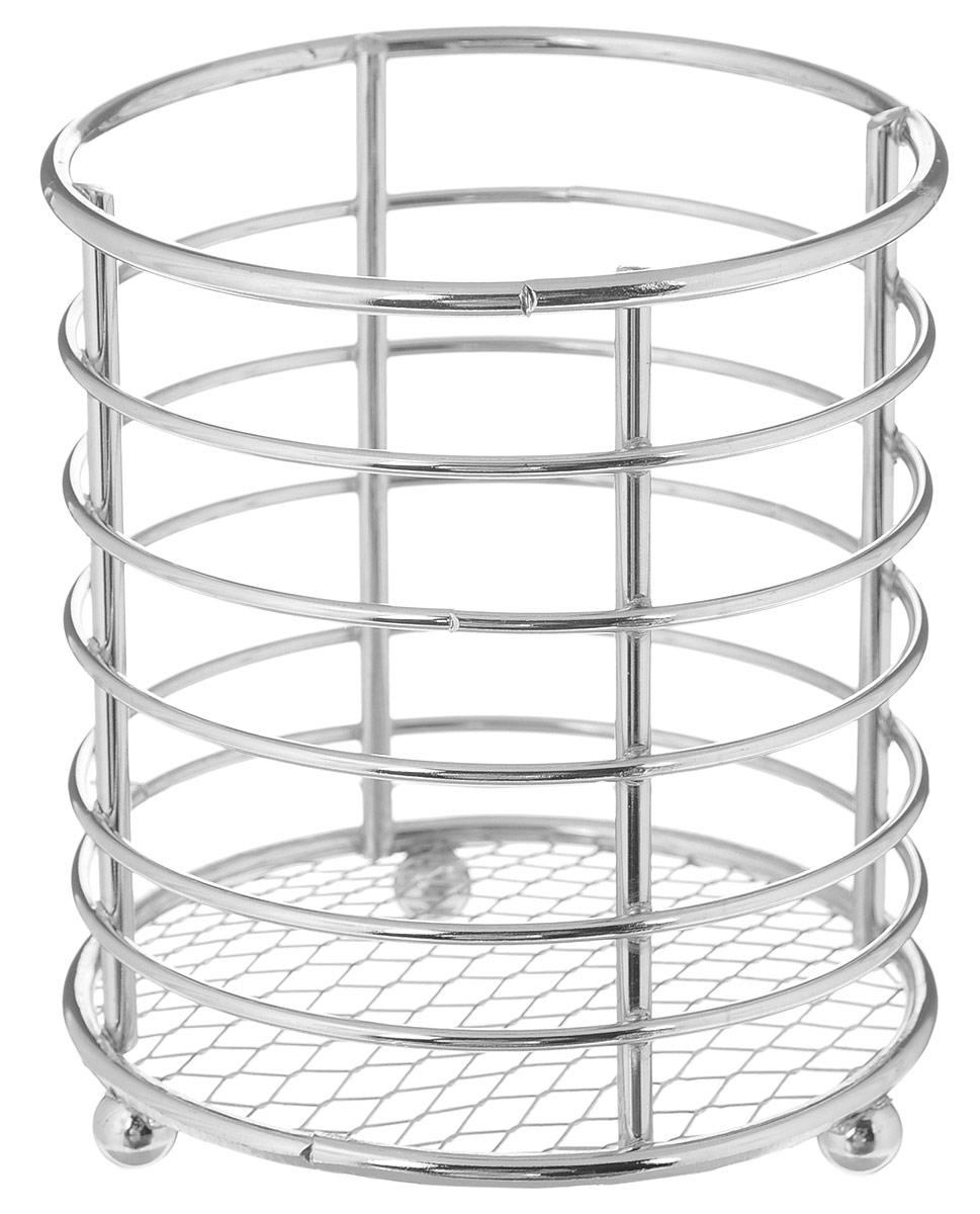 Подставка для столовых приборов Top Star, 10,5 х 9,5 х 9,5 смVT-1520(SR)Подставка для столовых приборов Top Star представляет собой каркас из хромированного металла с сеткой в нижней части. Изделие стоит на трех шарообразных ножках. Подставка позволяет аккуратно хранить основные типы столовых приборов. Вы можете установить подставку в любом удобном месте. Такая подставка для столовых приборов станет полезным аксессуаром в домашнем быту и идеально впишется в интерьер современной кухни.