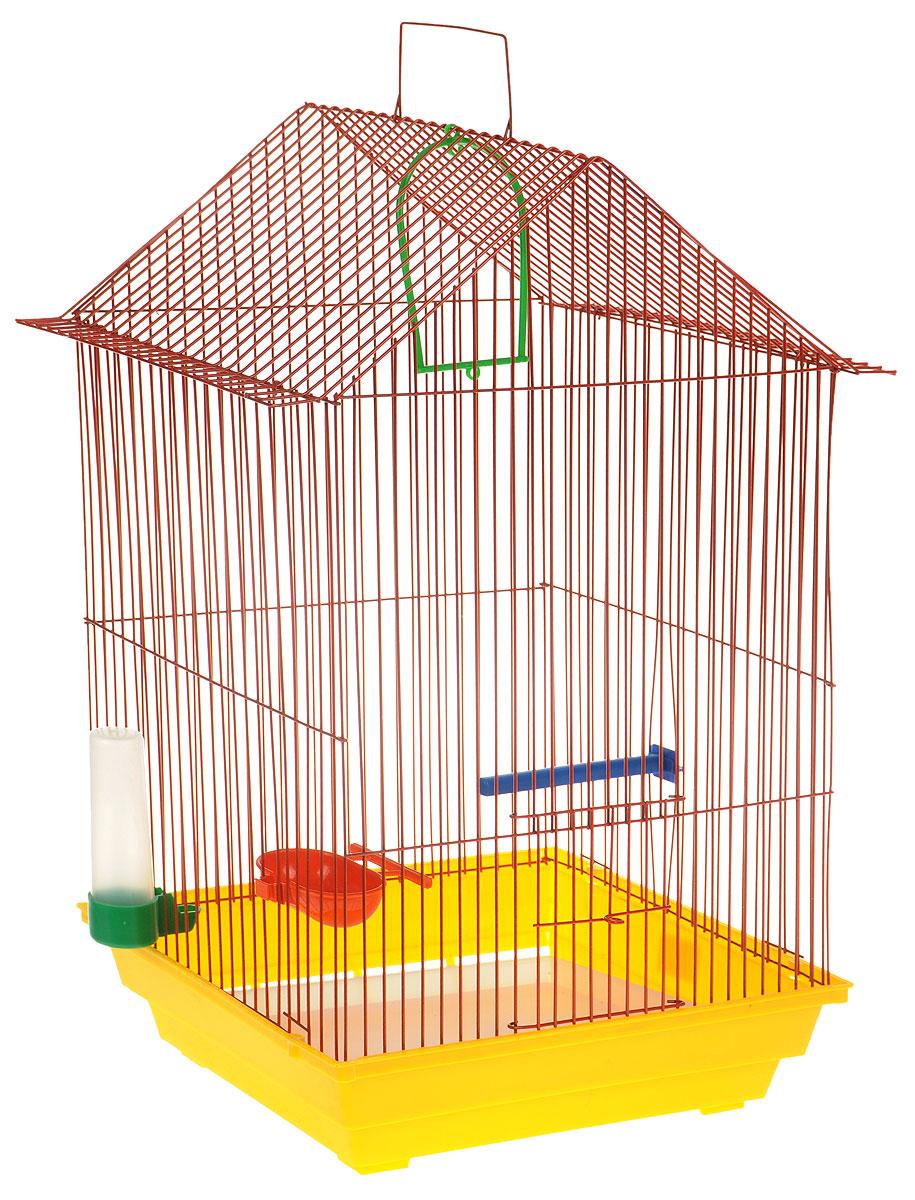 Клетка для птиц ЗооМарк, цвет: желтый поддон, красная решетка, 34 x 28 х 54 см0120710Клетка ЗооМарк, выполненная из полипропилена и металла с эмалированным покрытием, предназначена для мелких птиц.Изделие состоит из большого поддона и решетки. Клетка снабжена металлической дверцей. В основании клетки находится малый поддон. Клетка удобна в использовании и легко чистится. Она оснащена жердочкой, кольцом для птицы, поилкой, кормушкой и подвижной ручкой для удобной переноски. Комплектация: - клетка с поддоном, - малый поддон; - поилка; - кормушка;- кольцо.Размер клетки: 34 x 28 х 54 см.