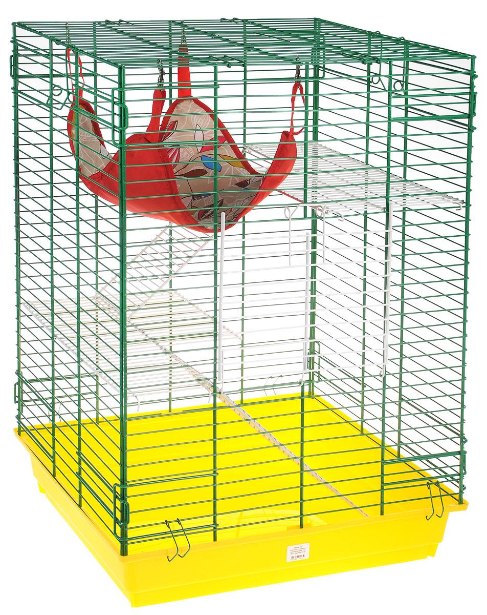 Клетка для шиншилл и хорьков ЗооМарк, цвет: желтый поддон, зеленая решетка, 59 х 41 х 79 см440КЗКлетка ЗооМарк, выполненная из полипропилена и металла, подходит для шиншилл и хорьков. Большая клетка оборудована длинными лестницами и гамаком. Изделие имеет яркий поддон, удобно в использовании и легко чистится. Сверху имеется ручка для переноски. Такая клетка станет уединенным личным пространством и уютным домиком для грызуна.