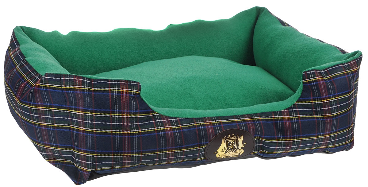 Лежак для животных ЗооМарк Pet's Couture №1, цвет: зеленый, синий, 52 х 37 х 13 см