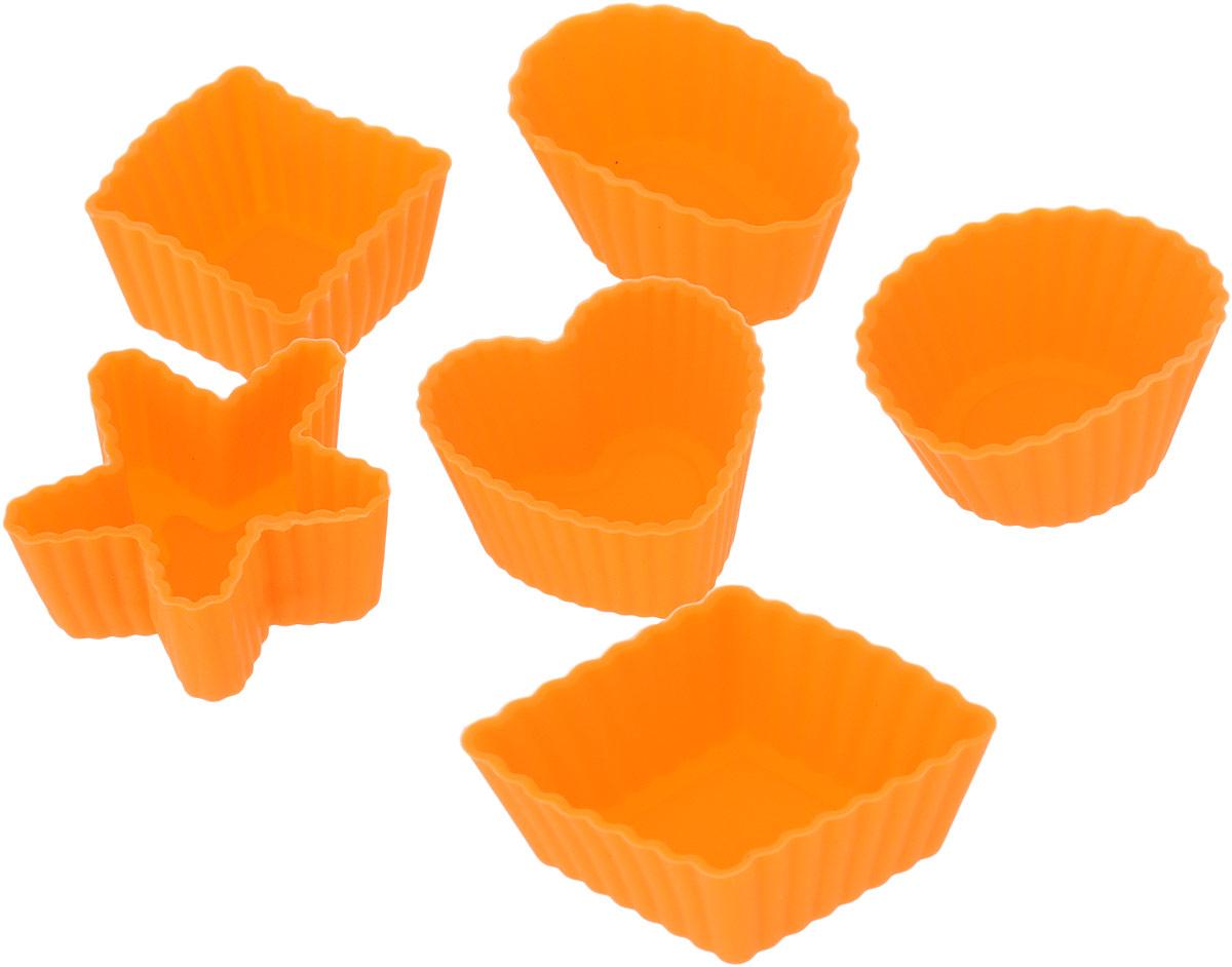 Набор форм для выпечки LaSella, цвет: оранжевый, 6 шт391602Набор LaSella состоит из шести форм, выполненных из силикона с рельефными стенками. Изделия предназначены для выпечки и заморозки. Формочки выполнены в виде круга, овала, звезды, квадрата и сердца.Силиконовые формы для выпечки имеют много преимуществ по сравнению с традиционными металлическими формами и противнями. Они идеально подходят для использования в микроволновых, газовых и электрических печах при температурах до +210°С. В случае заморозки до -40°С. Благодаря гибкости и антипригарным свойствам силикона, готовое изделие легко извлекается из формы. Силикон абсолютно безвреден для здоровья, не впитывает запахи, не оставляет пятен, легко моется. С таким набором LaSella вы всегда сможете порадовать своих близких оригинальной выпечкой.Средний размер формы: 3 х 3 х 1,5 см.