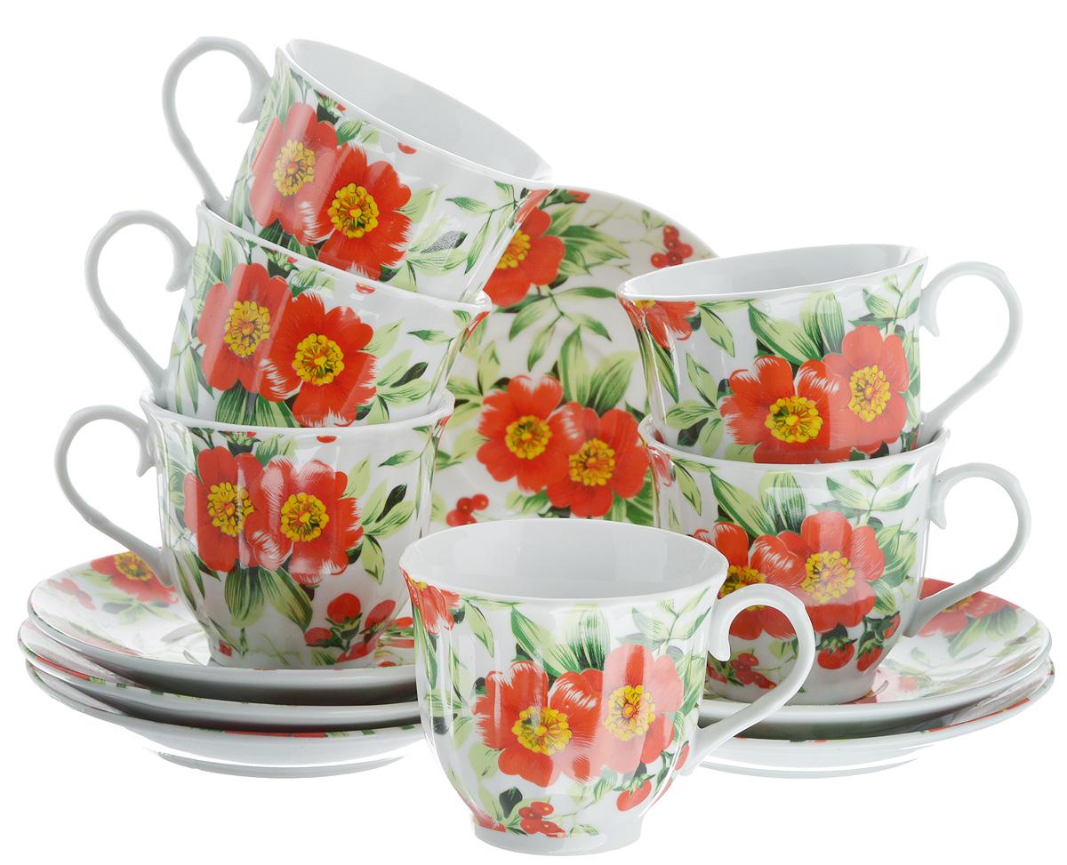 Набор чайный Bella, 12 предметов. DL-RF6-132115510Чайный набор Bella состоит из 6 чашек и 6 блюдец, изготовленных из высококачественного фарфора. Такой набор прекрасно дополнит сервировку стола к чаепитию, а также станет замечательным подарком для ваших друзей и близких. Объем чашки: 220 мл. Диаметр чашки (по верхнему краю): 8 см. Высота чашки: 7 см. Диаметр блюдца: 14 см.Высота блюдца: 2 см.