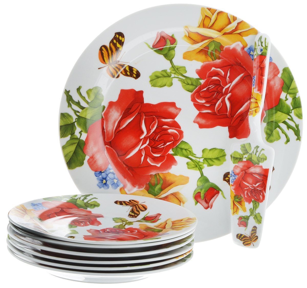 Набор для торта Bella, 8 предметов. DL-S8CB-17654 009312Набор для торта Bella состоит из 7 тарелок и лопатки. Изделия выполнены из высококачественного фарфора и оформлены ярким рисунком. Набор идеален для подачи тортов, пирогов и другой выпечки.Яркий дизайн сделает набор изысканным украшением праздничного стола.Диаметр меленьких тарелок: 19,5 см.Диаметр большой тарелки: 26,5 см.Размеры лопатки: 23,5 х 5,5 х 2 см.